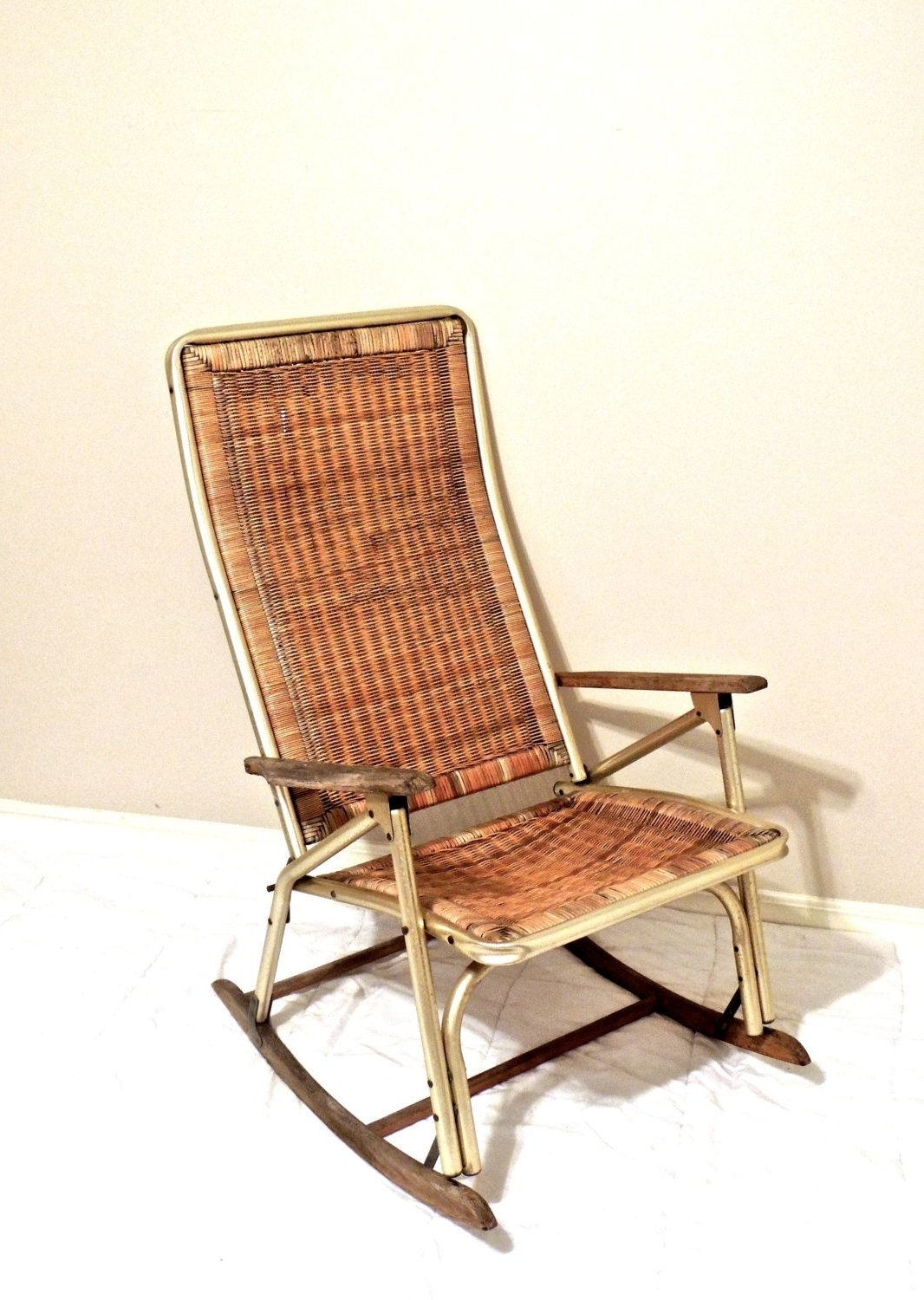 Best And Newest Vintage Wicker Rocking Chairs Pertaining To Vintage Wicker Rocking Chair – 1950S 60S Mid Century Gold/wicker (View 3 of 15)