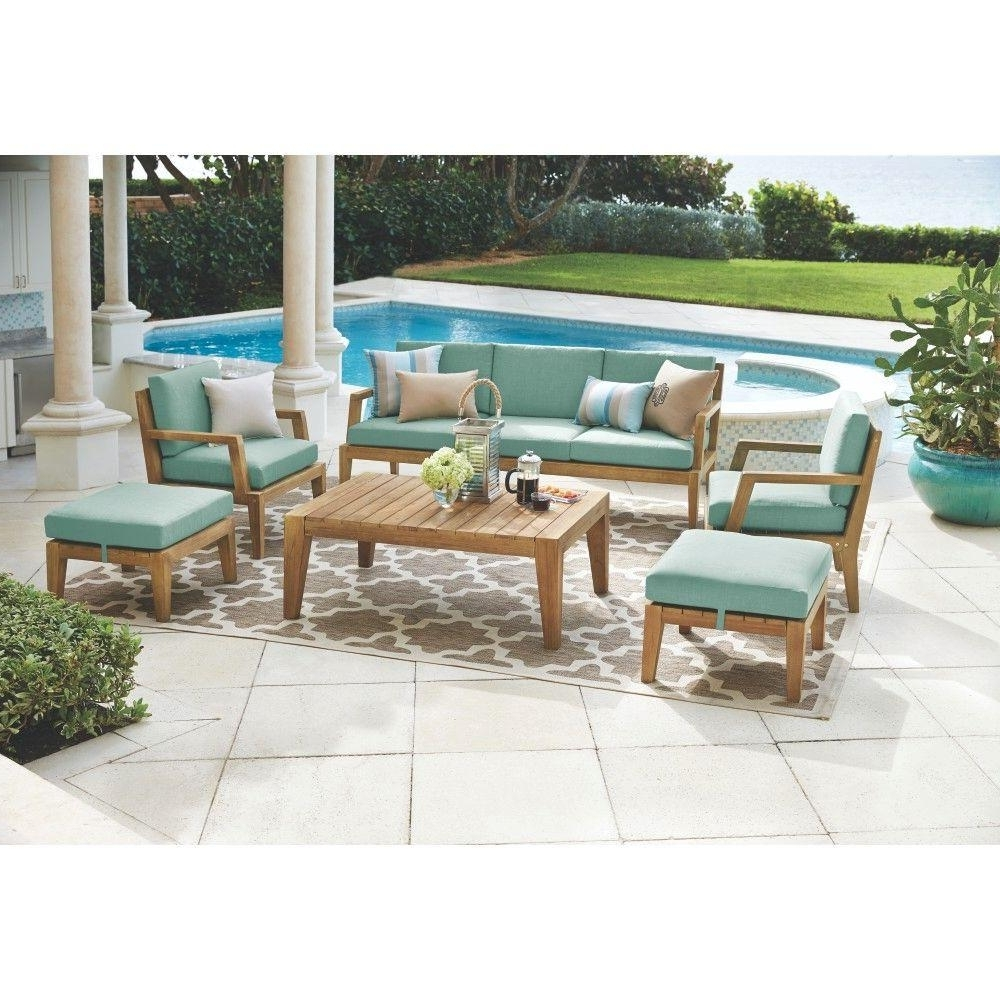 Best And Newest Wood Patio Furniture Conversation Sets Throughout Home Decorators Collection Bermuda 6 Piece All Weather Eucalyptus (View 8 of 15)