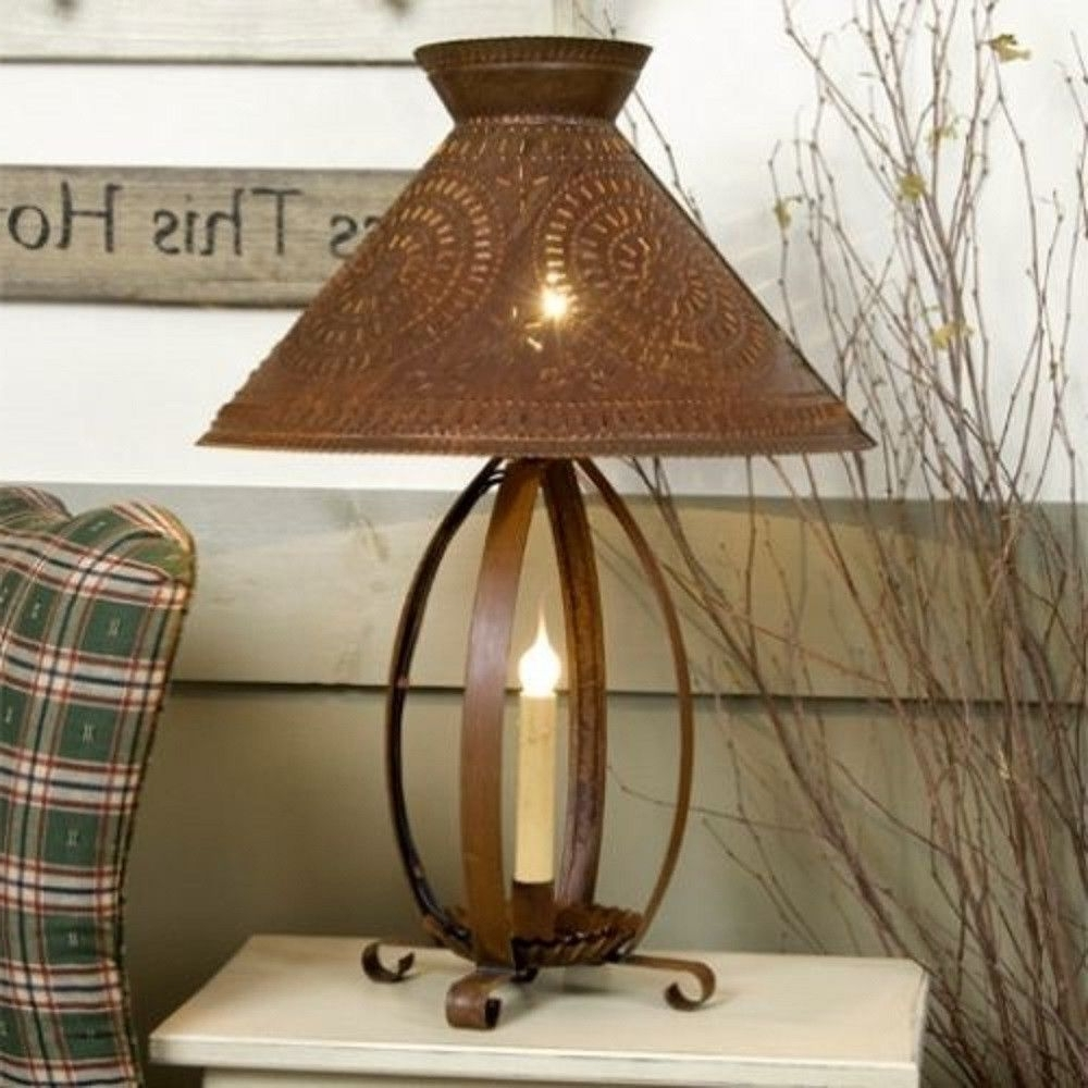 Betsy Ross Colonial Table Lamp With Pierced Chisel Pattern Shade In Regarding Fashionable Primitive Living Room Table Lamps (View 5 of 15)