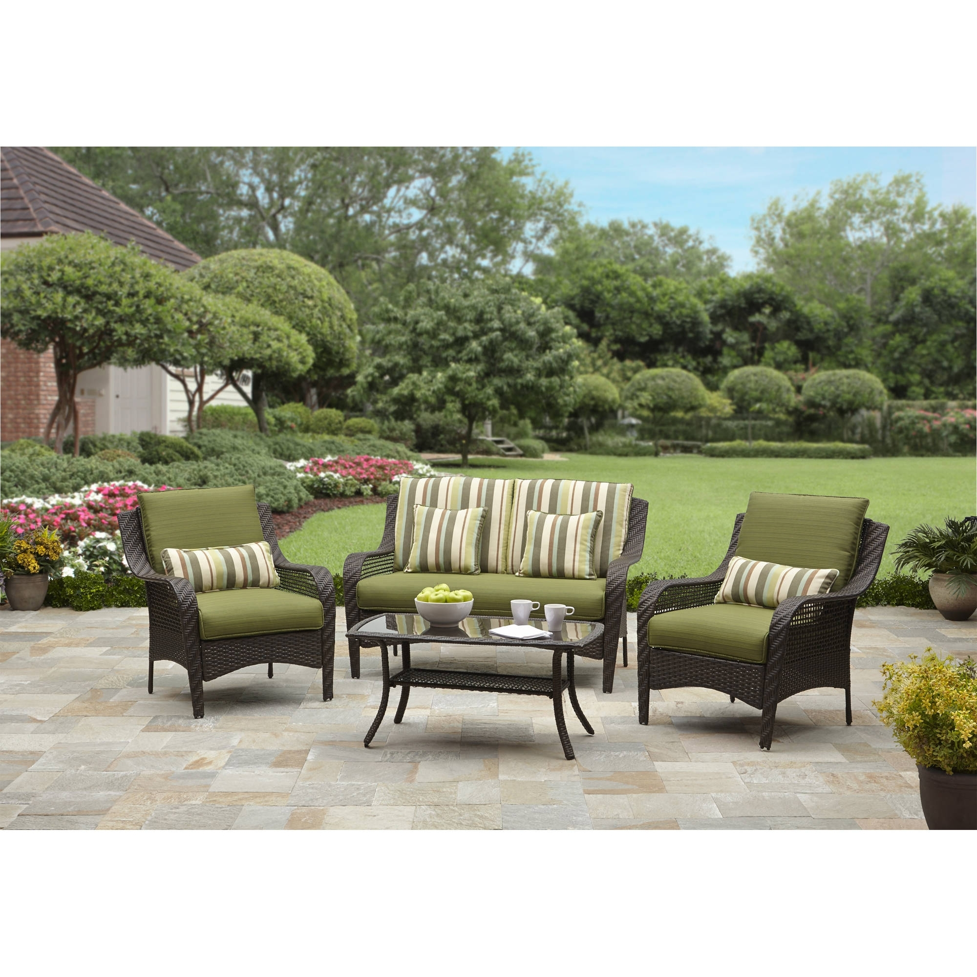 Better Homes And Gardens Amelia Cove 4 Piece Woven Patio With Preferred Walmart Patio Furniture Conversation Sets (View 3 of 15)