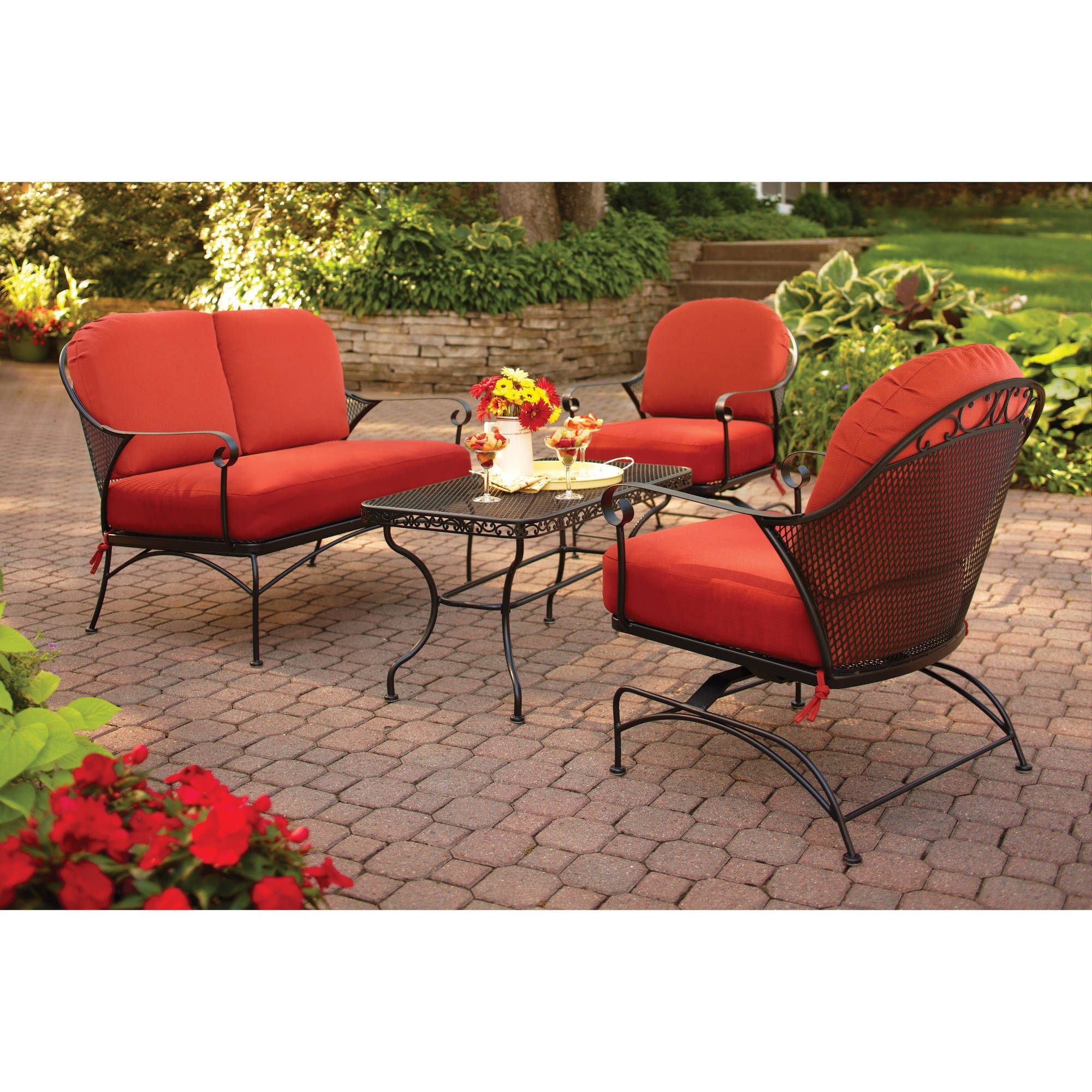 Better Homes And Gardens Clayton Court 4 Piece Patio Conversation Throughout Most Popular Walmart Patio Furniture Conversation Sets (View 6 of 15)