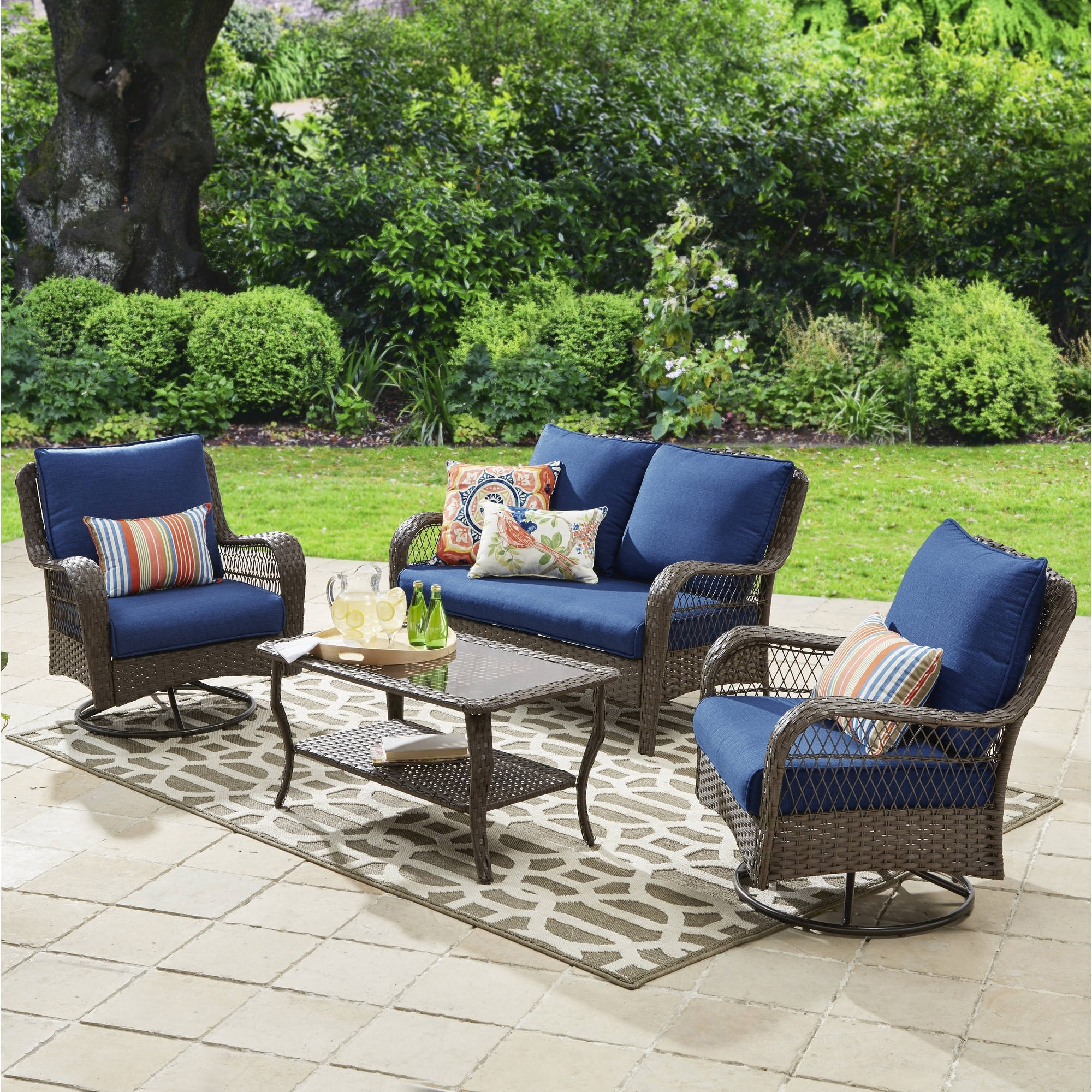 Better Homes And Gardens Colebrook 4 Piece Outdoor Conversation Set With Regard To Well Known Walmart Patio Furniture Conversation Sets (View 7 of 15)