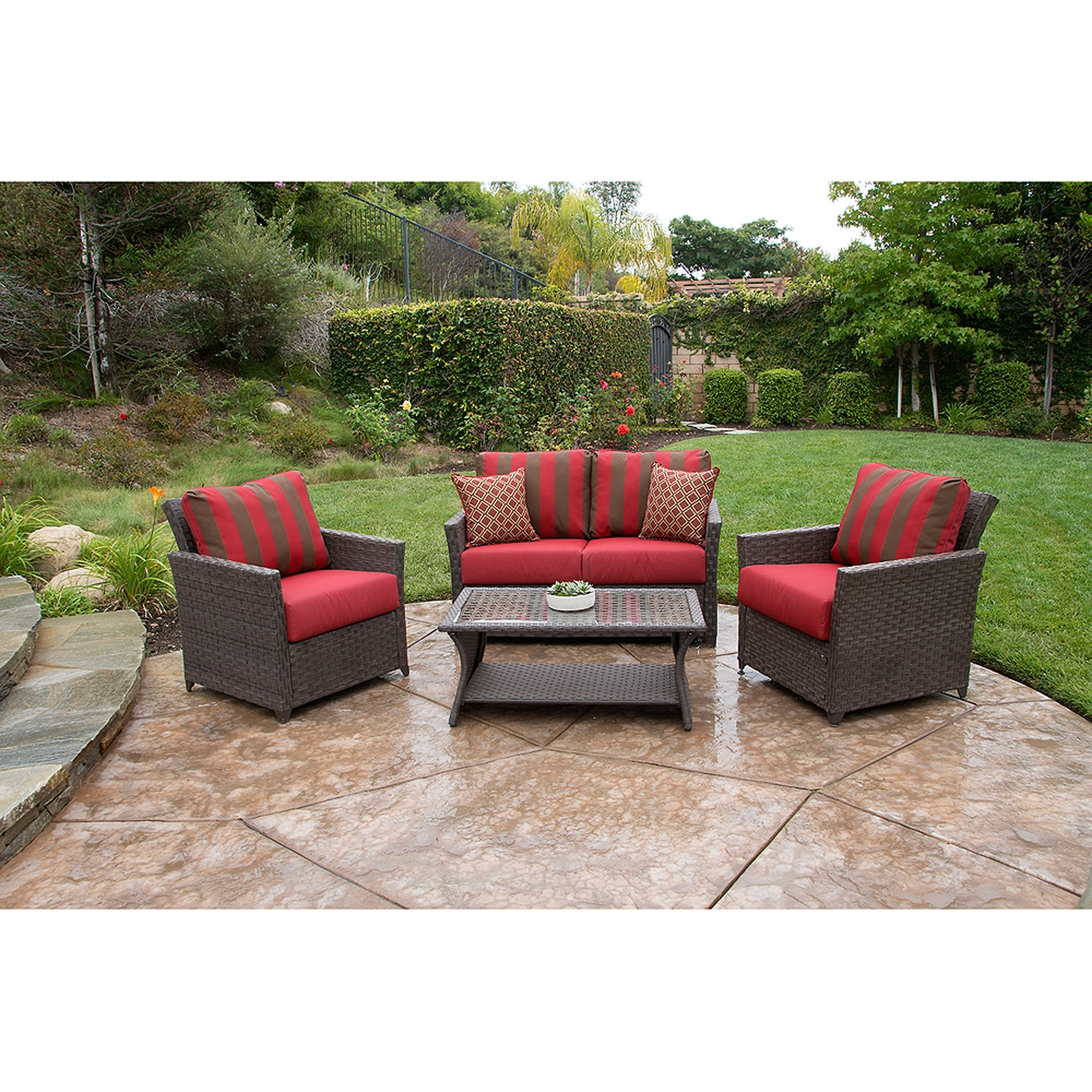 Better Homes And Gardens Rushreed Deep Seating 4 Piece Patio Regarding Most Current Deep Seating Patio Conversation Sets (View 15 of 15)