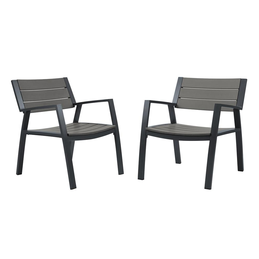 Black Aluminum Patio Conversation Sets Inside 2018 Real Flame Anson 2 Piece All Weather Aluminum Outdoor Patio Casual (View 2 of 15)