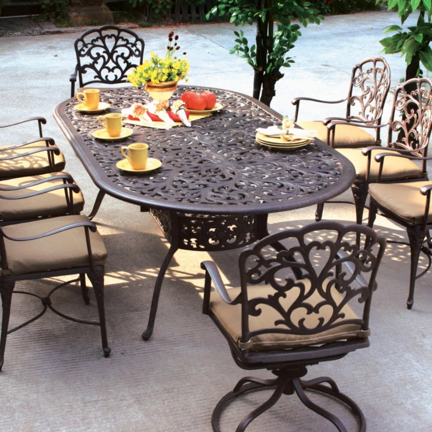 Black Aluminum Patio Conversation Sets Intended For Newest Patio Dining Table And Chairs Costco Patio Furniture For Padded (View 7 of 15)
