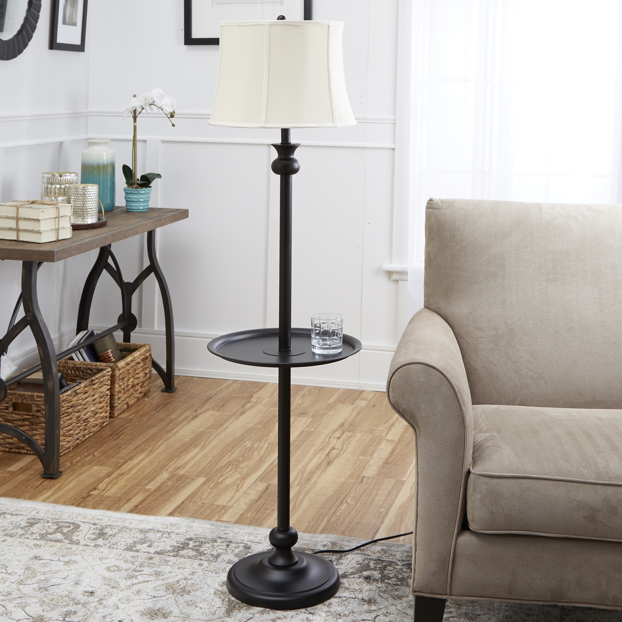 "Black Living Room Table Lamps Regarding Latest Mainstays 71"" Floor Lamp, Silver – Walmart (View 10 of 15)"
