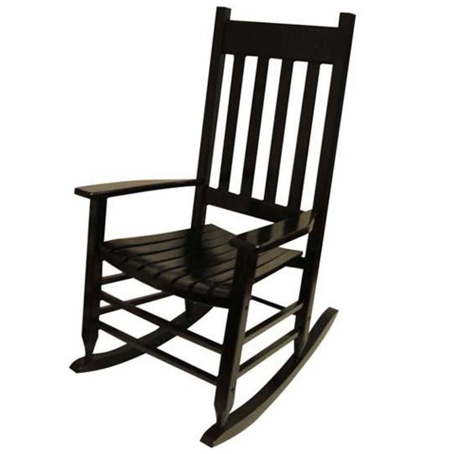 Black Patio Rocking Chairs Within Favorite Shop Garden Treasures Acacia Rocking Chair With Slat Seat At Lowes (View 2 of 15)