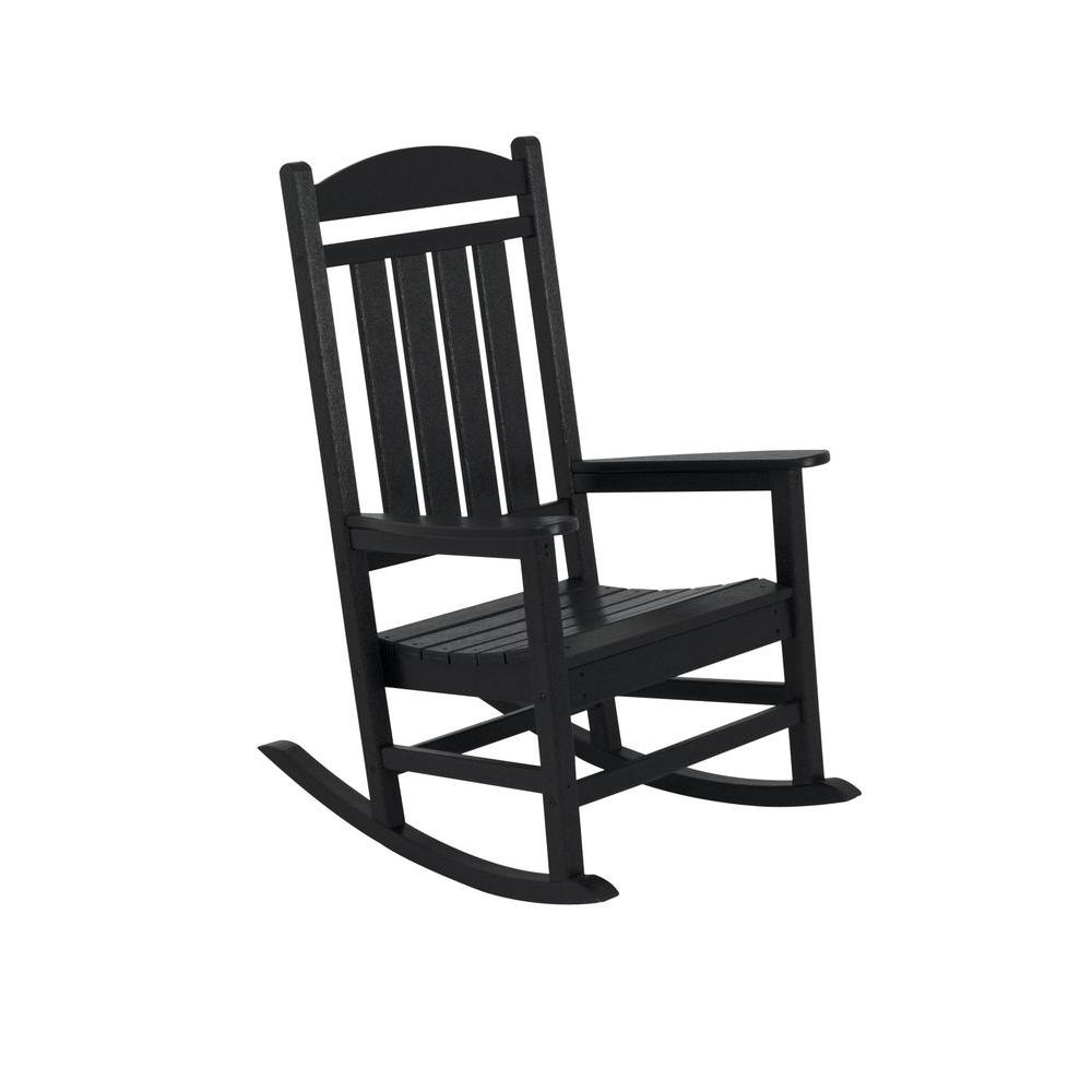 Black Rocking Chairs With Best And Newest Polywood Presidential Black Patio Rocker R100Bl – The Home Depot (View 3 of 15)