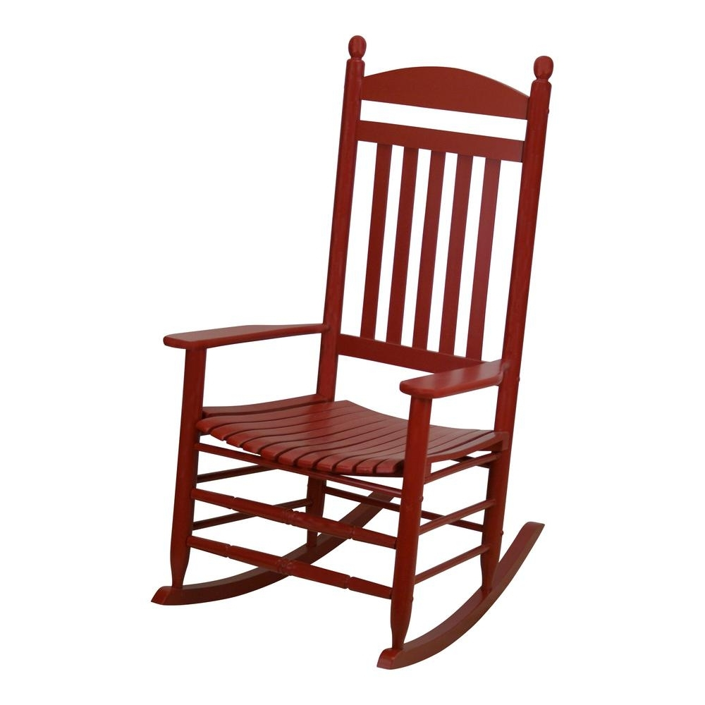 Bradley Slat Chili Patio Rocking Chair 200S Chil Rta – The Home Depot Inside Latest Red Patio Rocking Chairs (View 4 of 15)