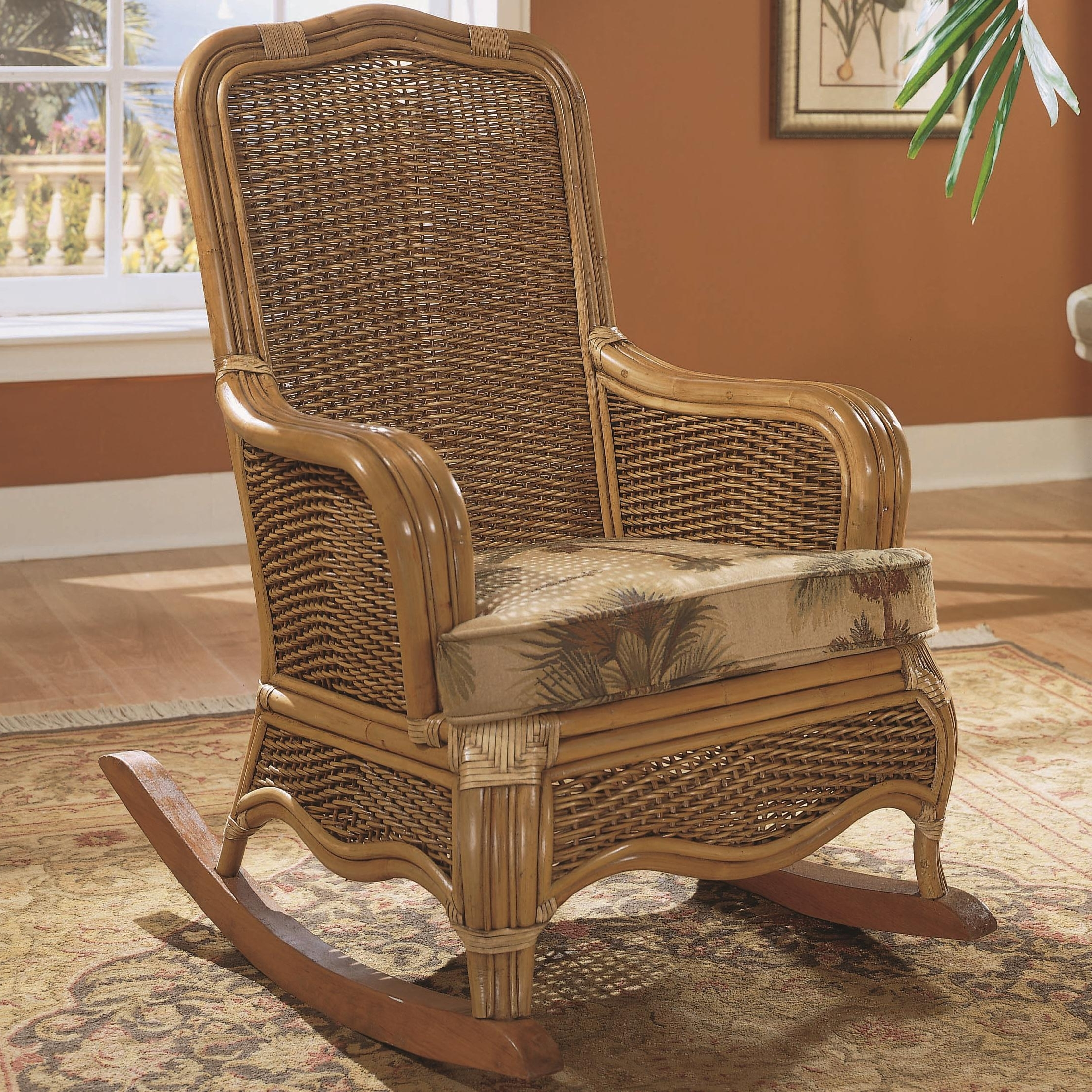 Braxton Culler Shorewood Tropical Rattan Rocking Chair With Loose Throughout Popular Wicker Rocking Chairs With Cushions (View 2 of 15)