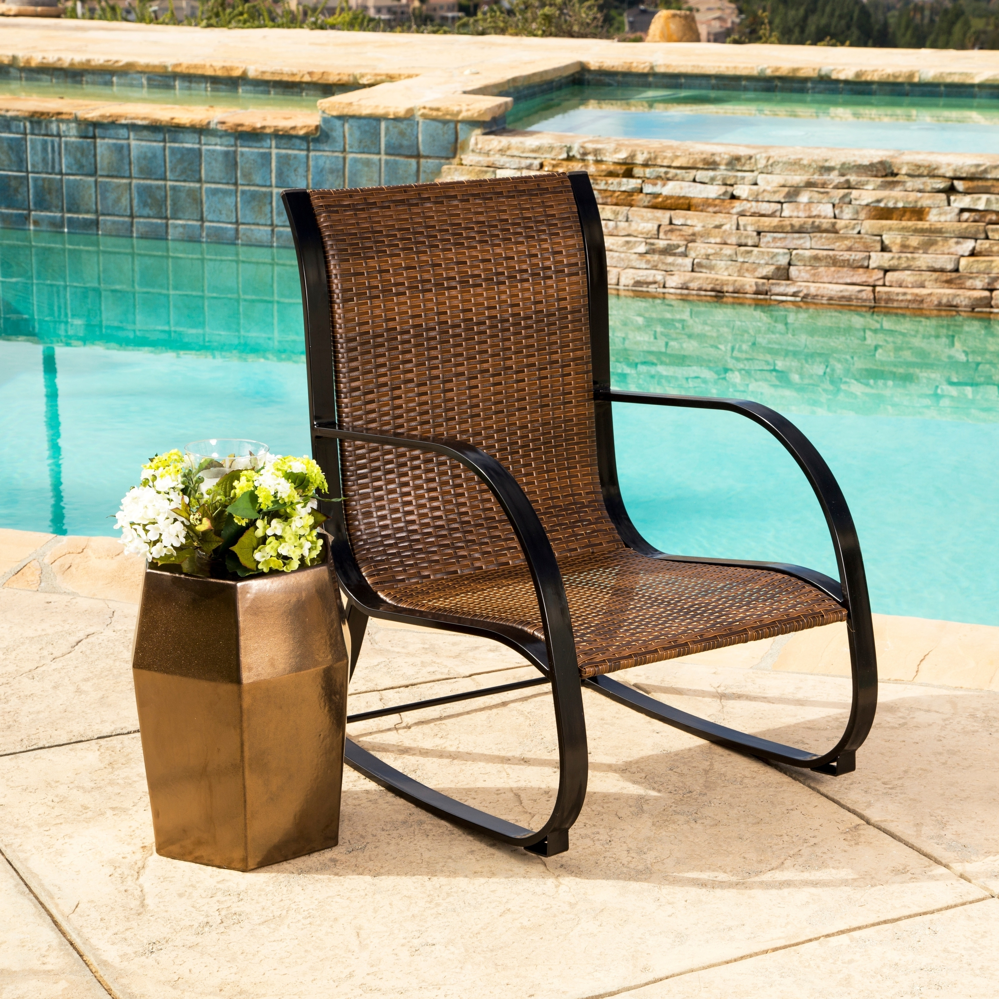 Brown Patio Rocking Chairs In Trendy Shop Abbyson Gabriela Brown Outdoor Wicker Rocking Chair – Free (View 3 of 15)