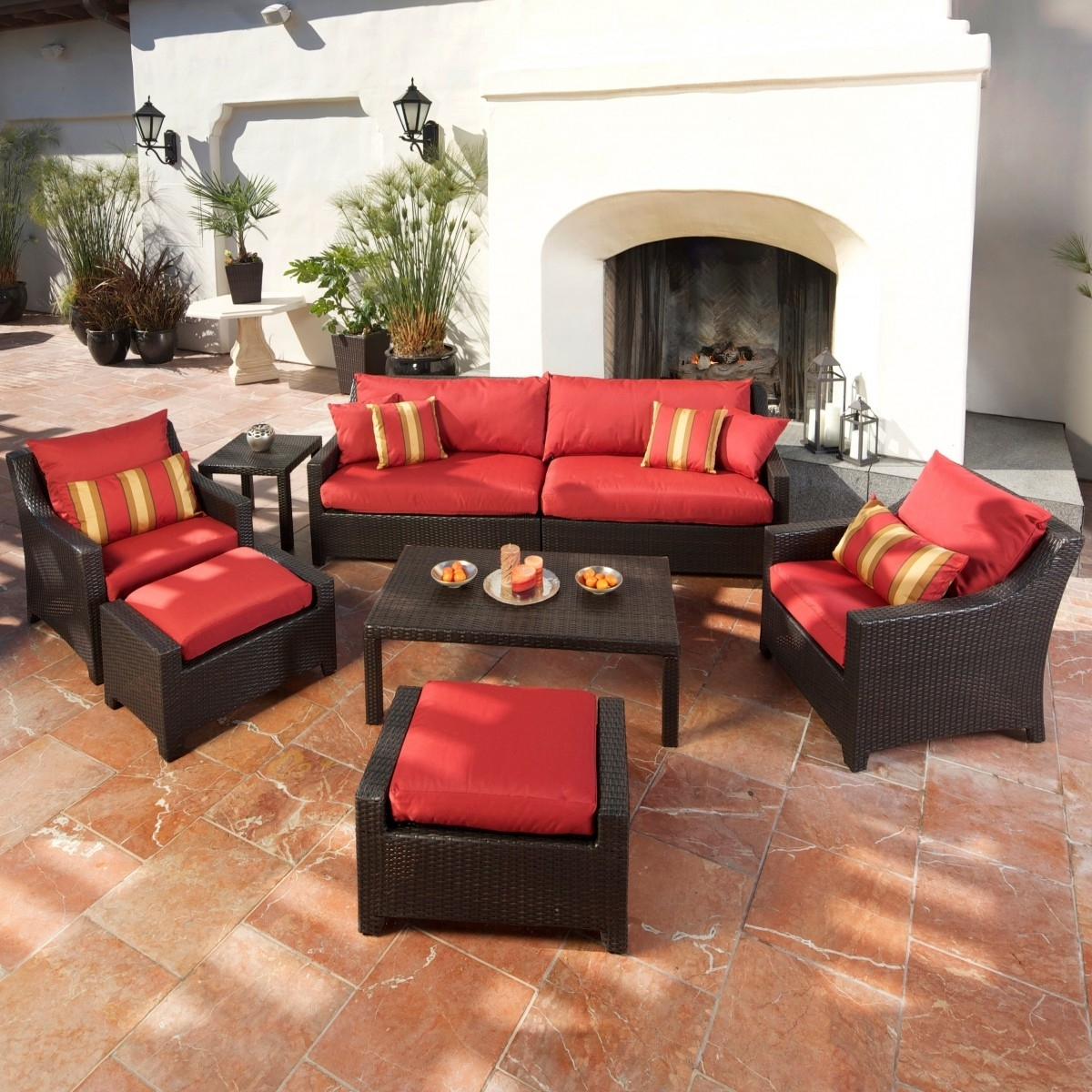 Cantina 7 Piece Sofa Seating Set With Chairs, Ottomans, Side Table Inside Popular Patio Conversation Sets With Ottomans (View 2 of 15)