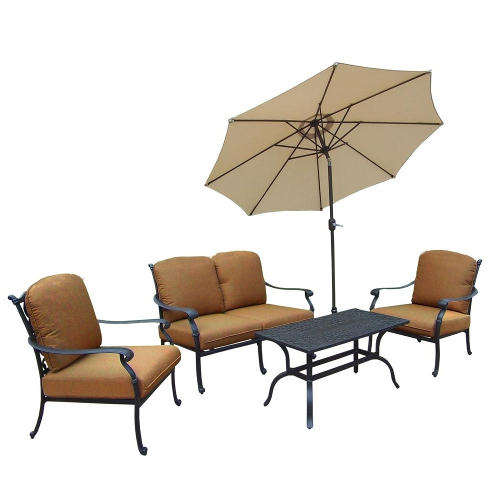 Cast Aluminum Patio Conversation Sets Intended For Most Recently Released Hampton Cast Aluminum 6 Piece Patio Deep Seating Set With Sunbrella (View 11 of 15)