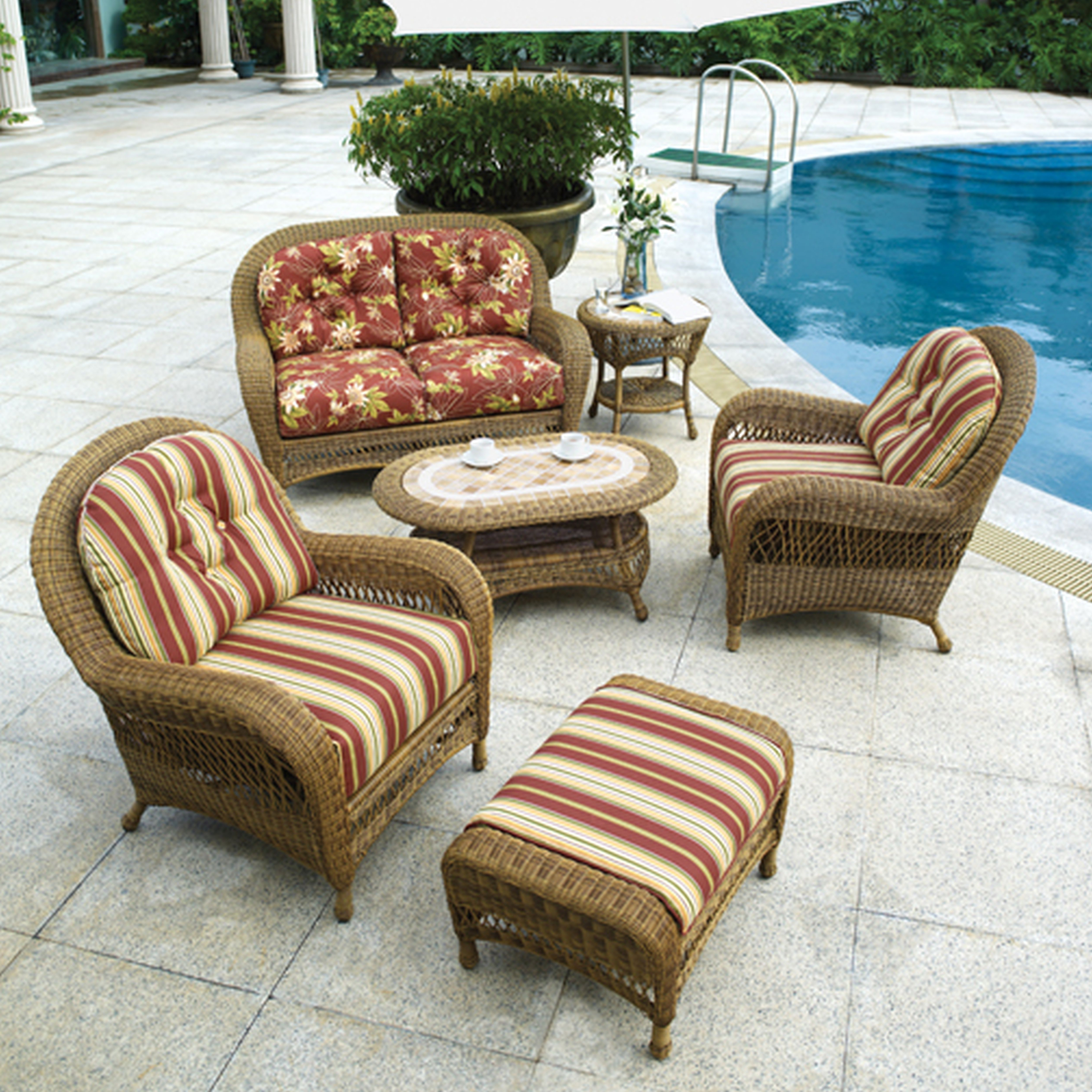 Chair : Magnificent Wicker Chair With Ottoman Additional Styles Of In Current Patio Conversation Sets With Ottoman (View 8 of 15)