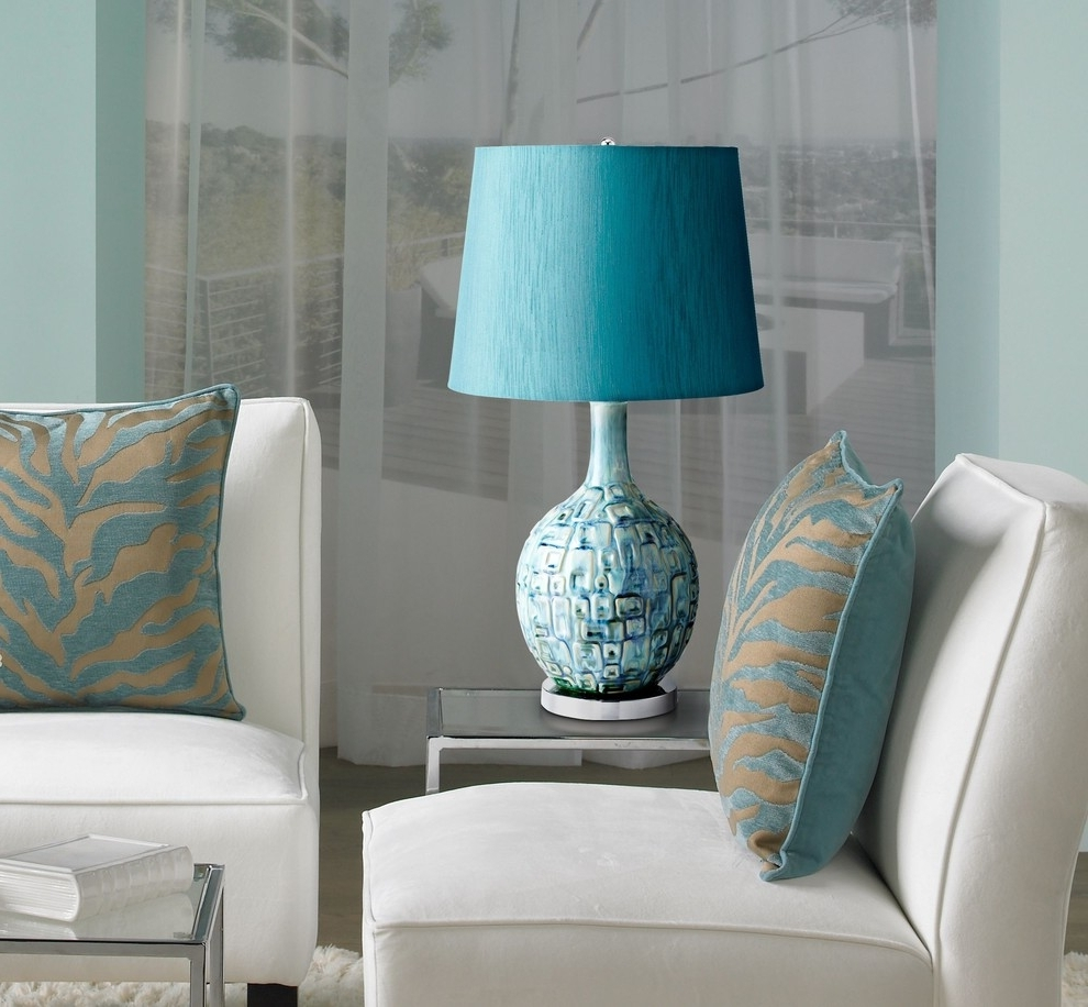 Contemporary Table Lamps Living Room With Aqua Lamp For Amazing Regarding Most Up To Date Teal Living Room Table Lamps (View 8 of 15)