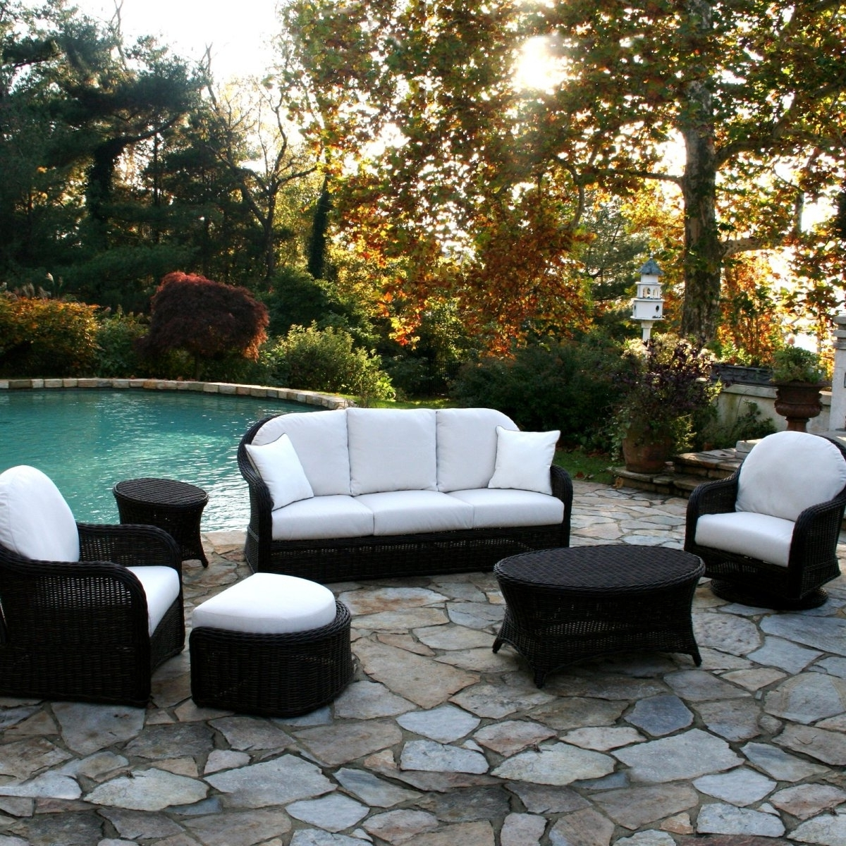 Conversation Chairs Patio Furniture Lowes Patio Conversation Sets Intended For Recent Patio Conversation Sets With Swivel Chairs (View 10 of 15)