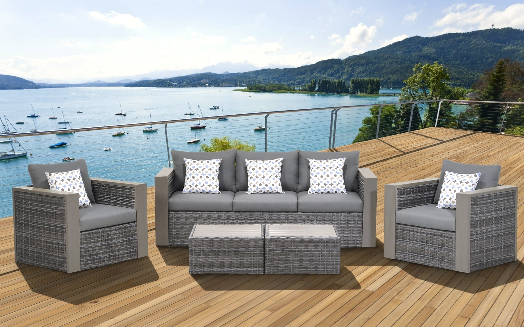 Cool Wicker Conversation Set 36 Cebu 5 Piece Patio Grey With For Well Known Grey Patio Conversation Sets (View 2 of 15)