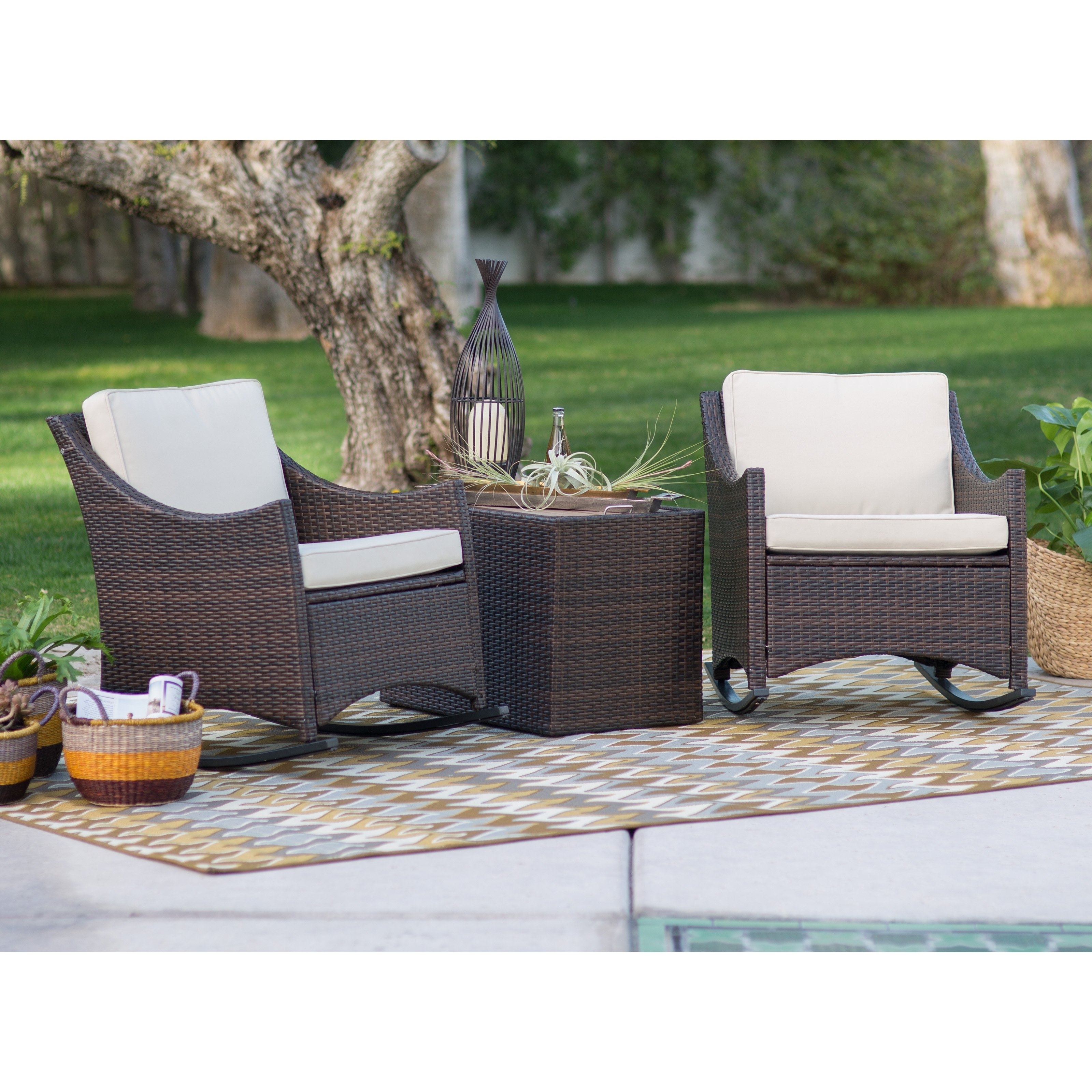 Coral Coast Harrison 3 Piece Club Style Rocking Chairs With Side Throughout Favorite Brown Wicker Patio Rocking Chairs (View 4 of 15)