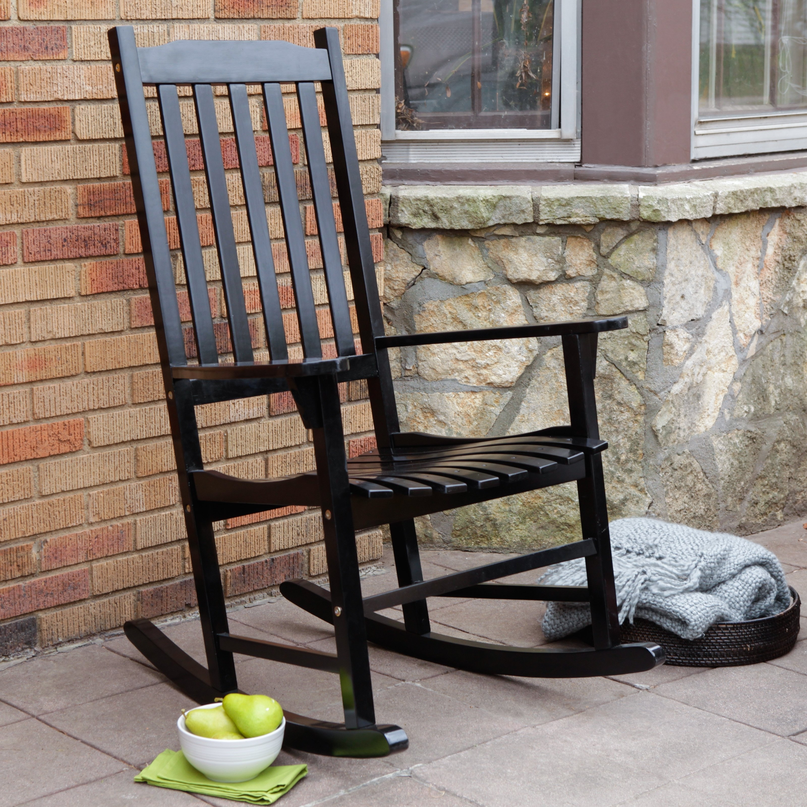 Coral Coast Indoor/outdoor Mission Slat Rocking Chair – Black With Regard To Most Up To Date Black Rocking Chairs (View 5 of 15)