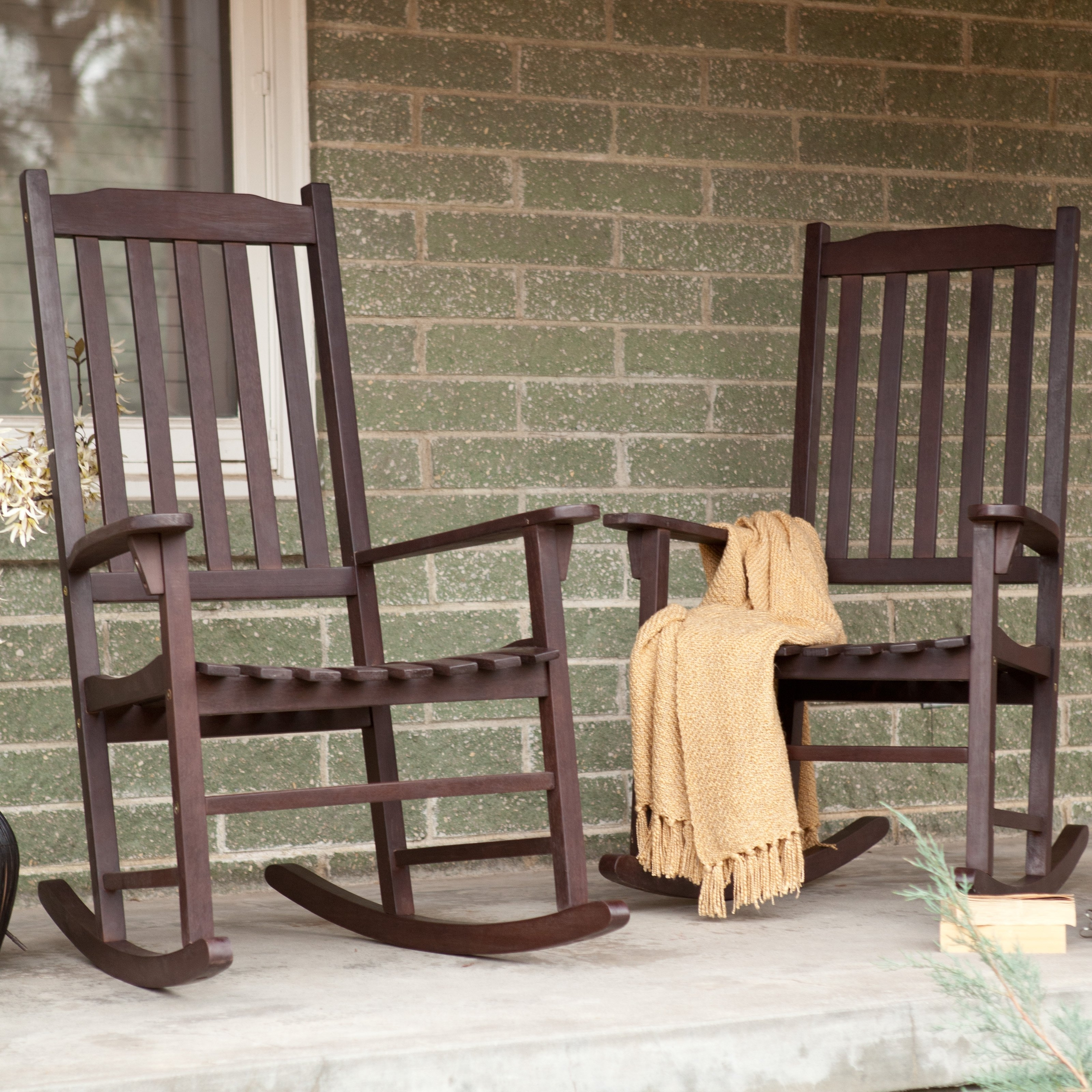 Coral Coast Indoor/outdoor Mission Slat Rocking Chairs – Dark Brown Intended For Newest Unique Outdoor Rocking Chairs (View 4 of 15)