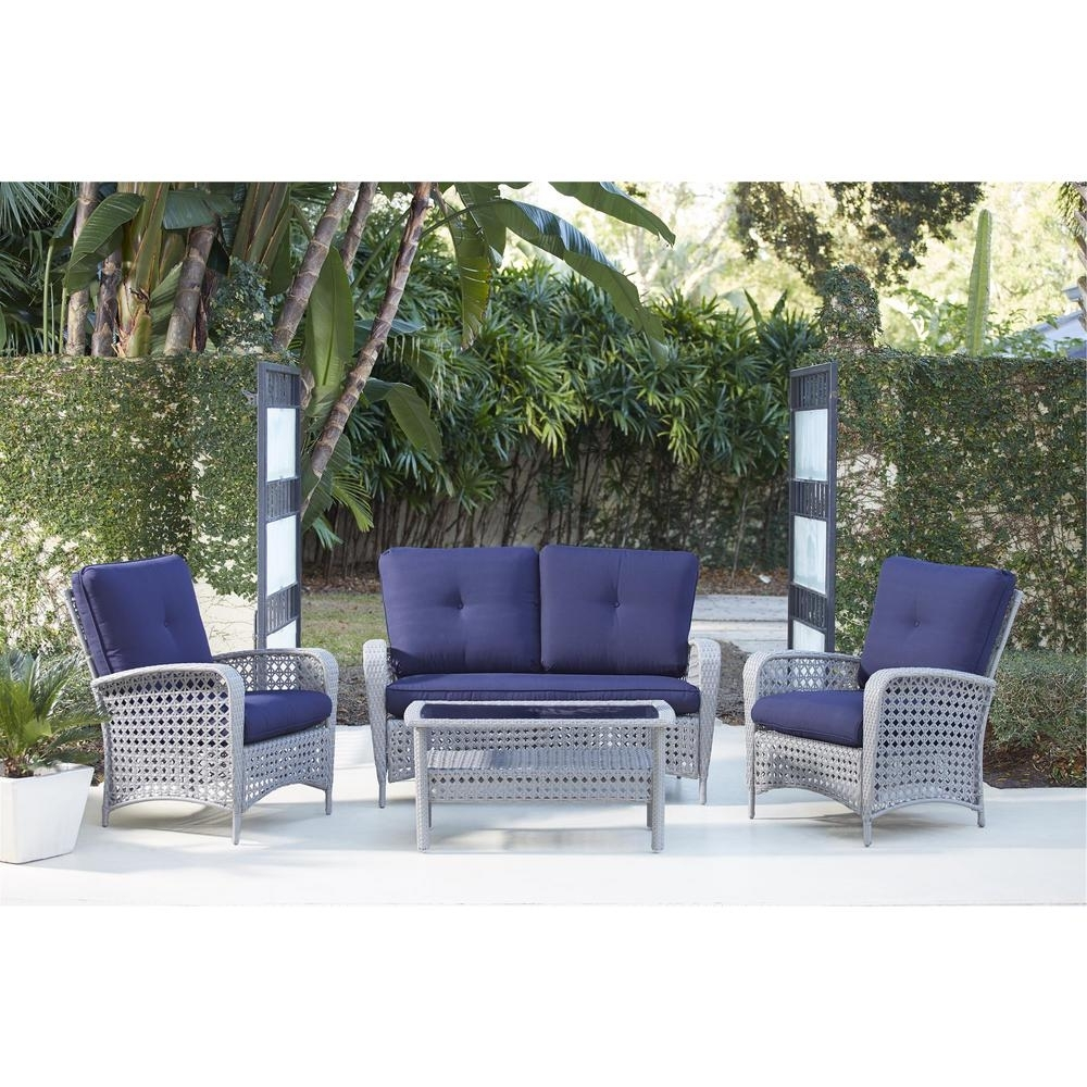 Cosco Lakewood Ranch 4 Piece Gray Resin Wicker Patio Conversation Inside Preferred Wicker 4Pc Patio Conversation Sets With Navy Cushions (View 1 of 15)