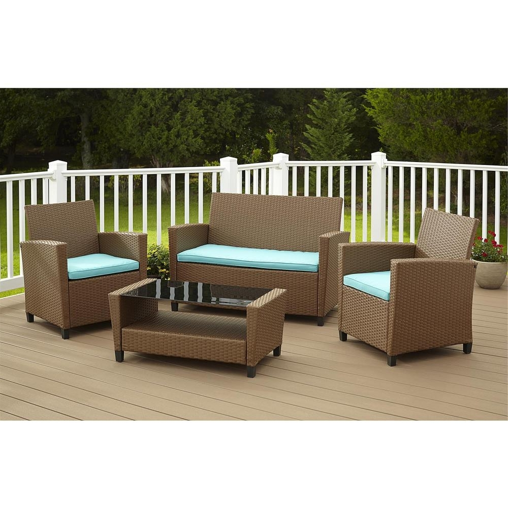 Cosco Malmo 4 Piece Brown Resin Wicker Patio Conversation Set With Blue  Cushions For Best And Newest Resin Wicker Patio Conversation Sets (View 4 of 15)