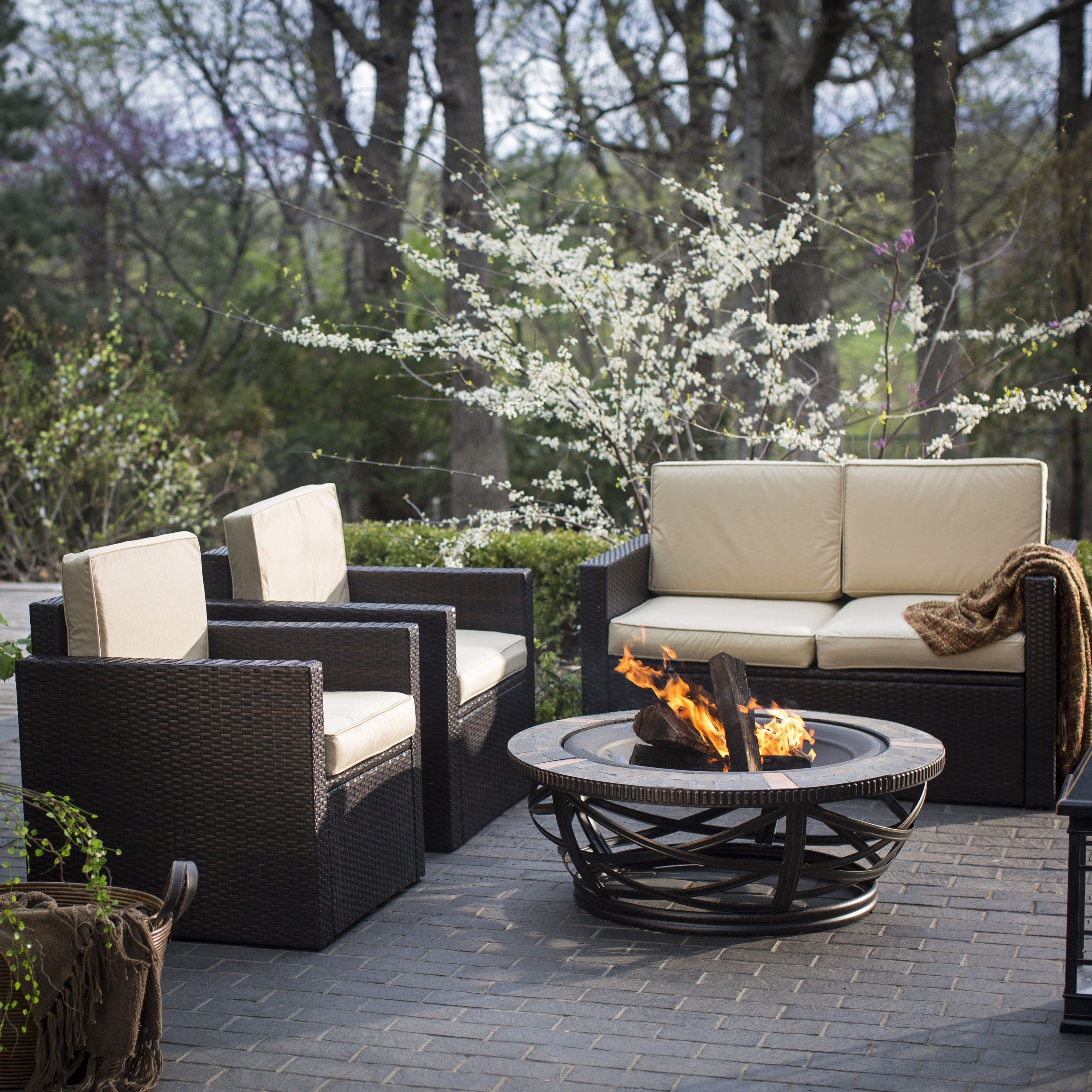 Costway 4 Pc Patio Rattan Wicker Chair Sofa Table Set Outdoor Garden Inside Well Known Walmart Patio Furniture Conversation Sets (View 13 of 15)