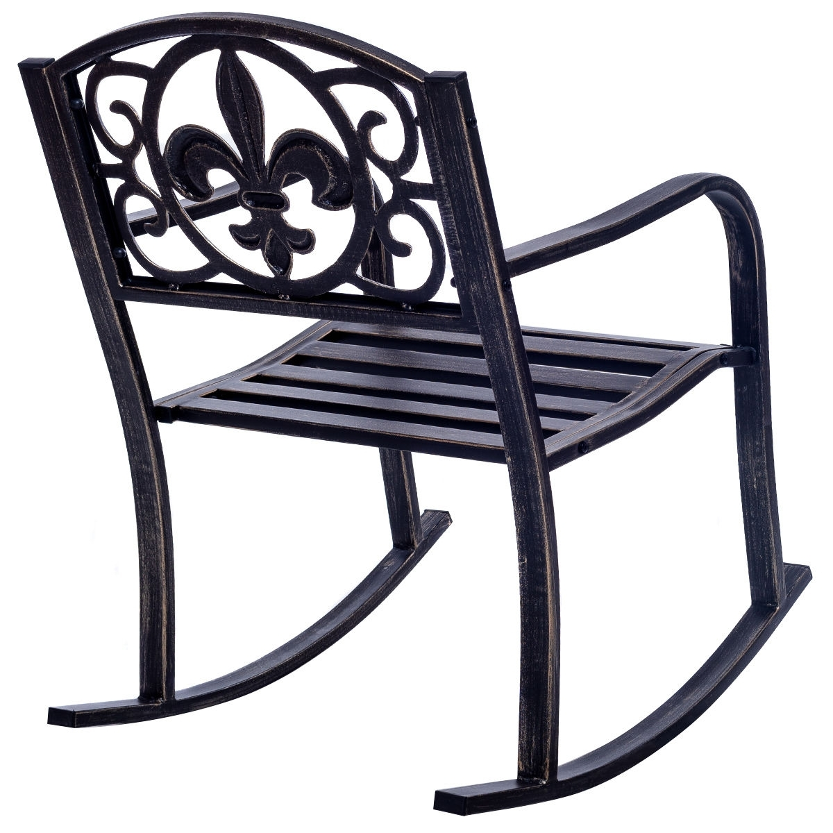 Costway: Costway Patio Metal Rocking Chair Porch Seat Deck Outdoor With Latest Patio Metal Rocking Chairs (View 5 of 15)