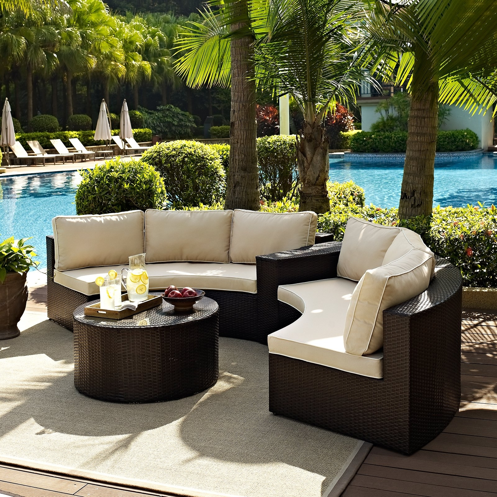 Crosley Catalina Outdoor Wicker Round Sectional Sofa With Coffee Regarding Preferred Resin Conversation Patio Sets (View 4 of 15)