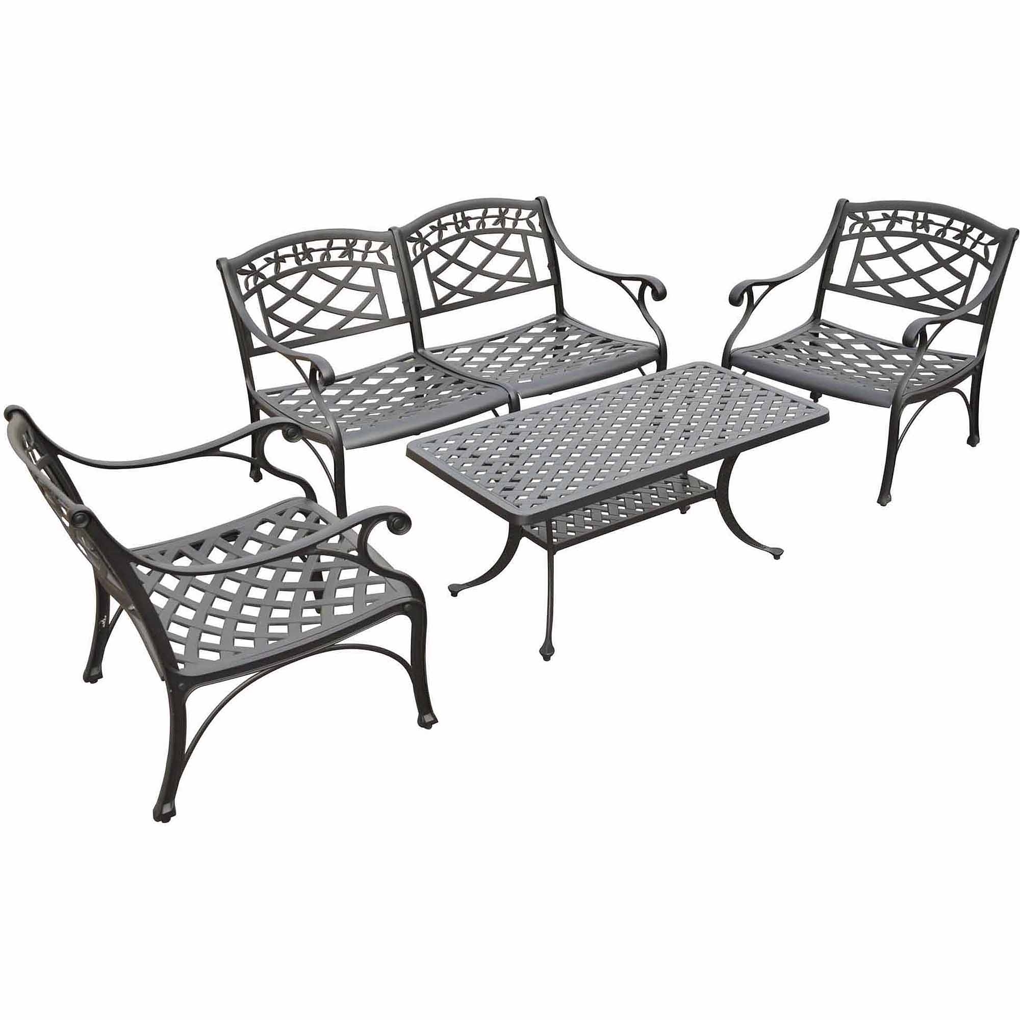 Crosley Furniture Sedona 4 Piece Cast Aluminum Outdoor Conversation With Regard To Most Recently Released Black Aluminum Patio Conversation Sets (View 15 of 15)