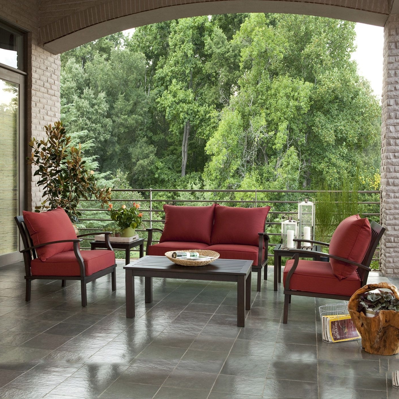 Current Allen + Roth Gatewood 4 Piece Outdoor Conversation Set – Lowe's For Red Patio Conversation Sets (View 1 of 15)