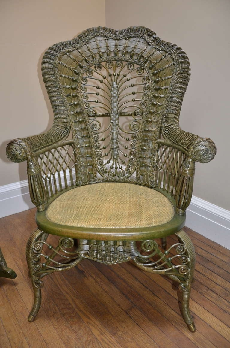 Current Antique Wicker Rocking Chairs Regarding Ornate Victorian Antique Wicker Chair And Rocker For Sale At 1Stdibs (View 3 of 15)