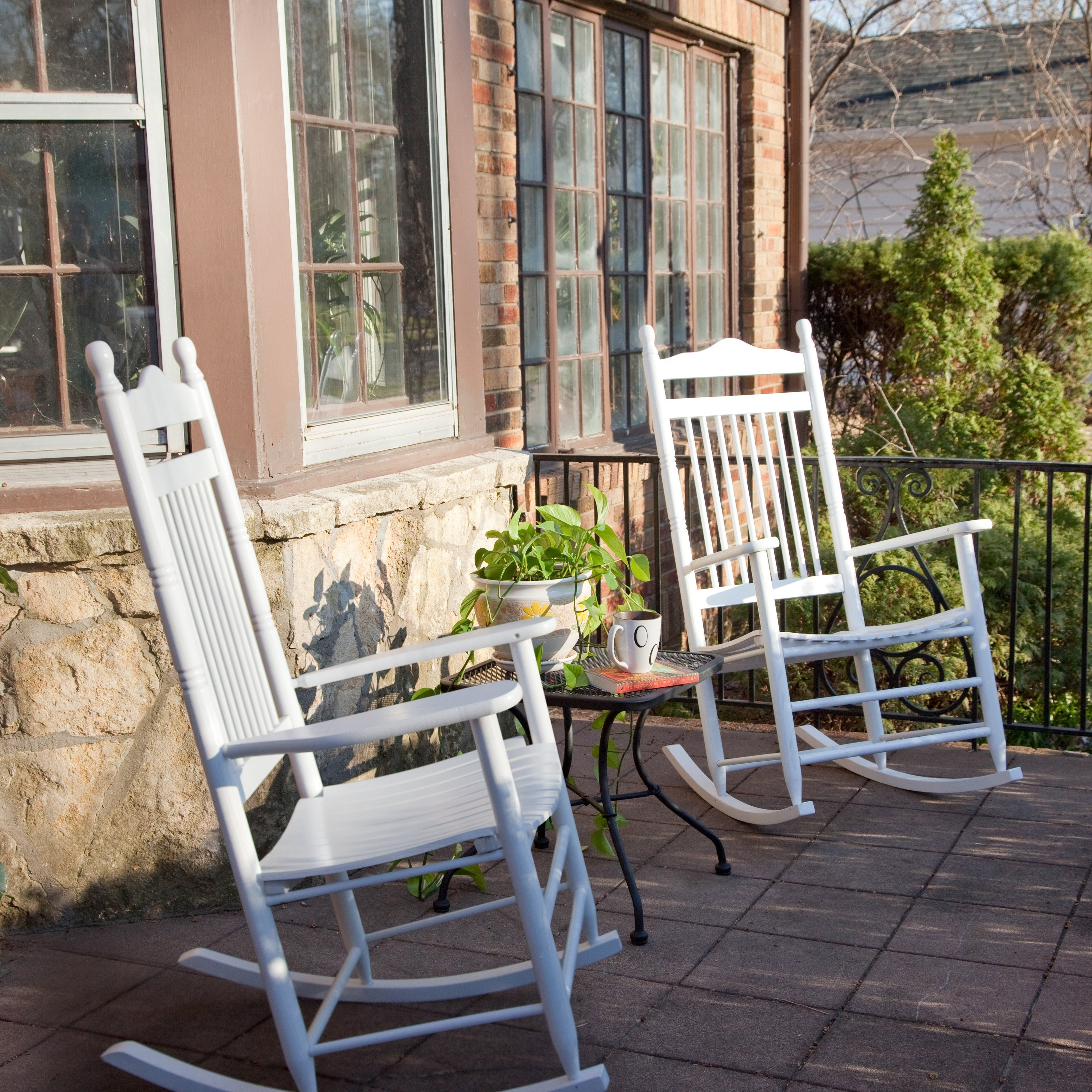 Current Dixie Seating Indoor/outdoor Spindle Rocking Chairs – White – Set Of Pertaining To Walmart Rocking Chairs (View 4 of 15)