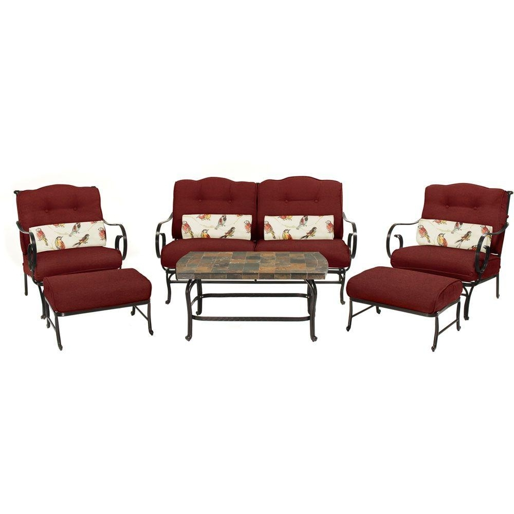 Current Hanover Oceana 6 Piece Patio Seating Set With A Stone Top Coffee Within Red Patio Conversation Sets (View 2 of 15)