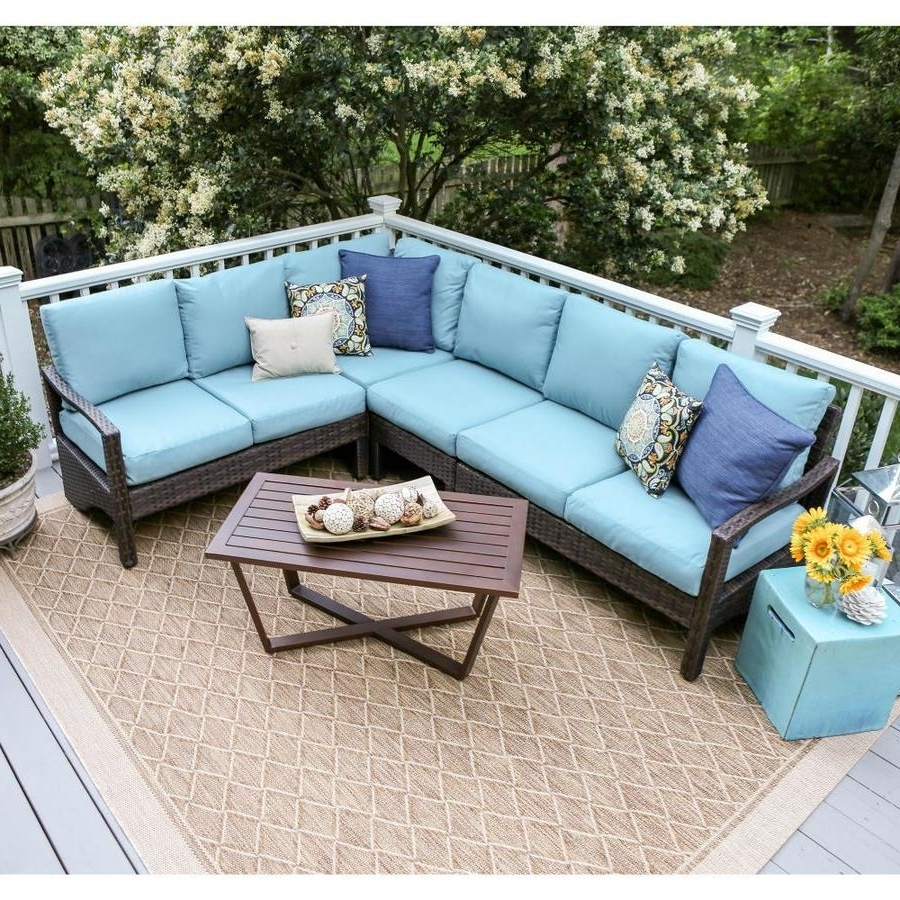 Current Patio Conversation Sets With Blue Cushions Intended For Shop Leisure Made Augusta 5 Piece Wicker Frame Patio Conversation (View 15 of 15)