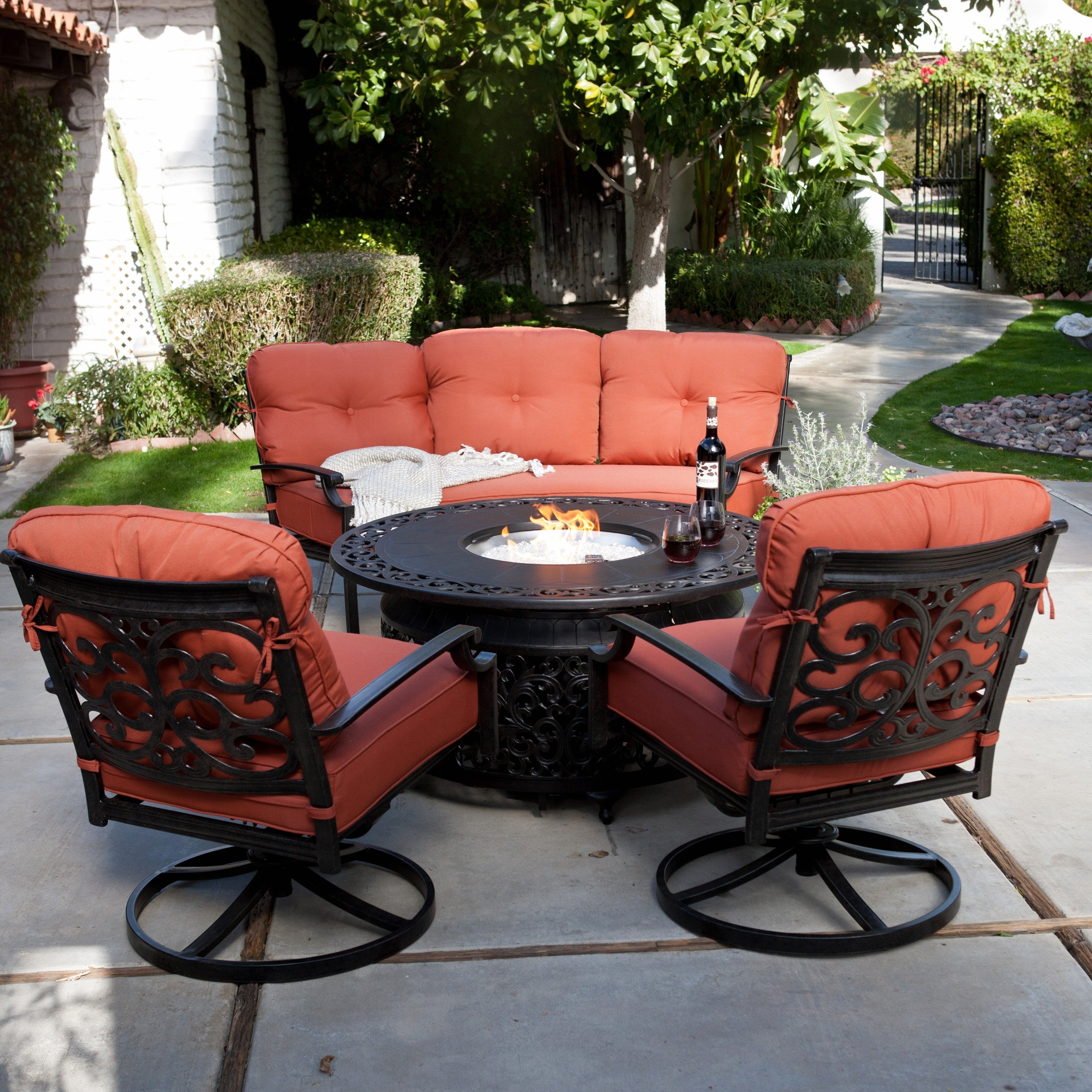 Current Patio Conversation Sets With Fire Pit Intended For 30 Amazing Propane Fire Pit Set Design (View 15 of 15)