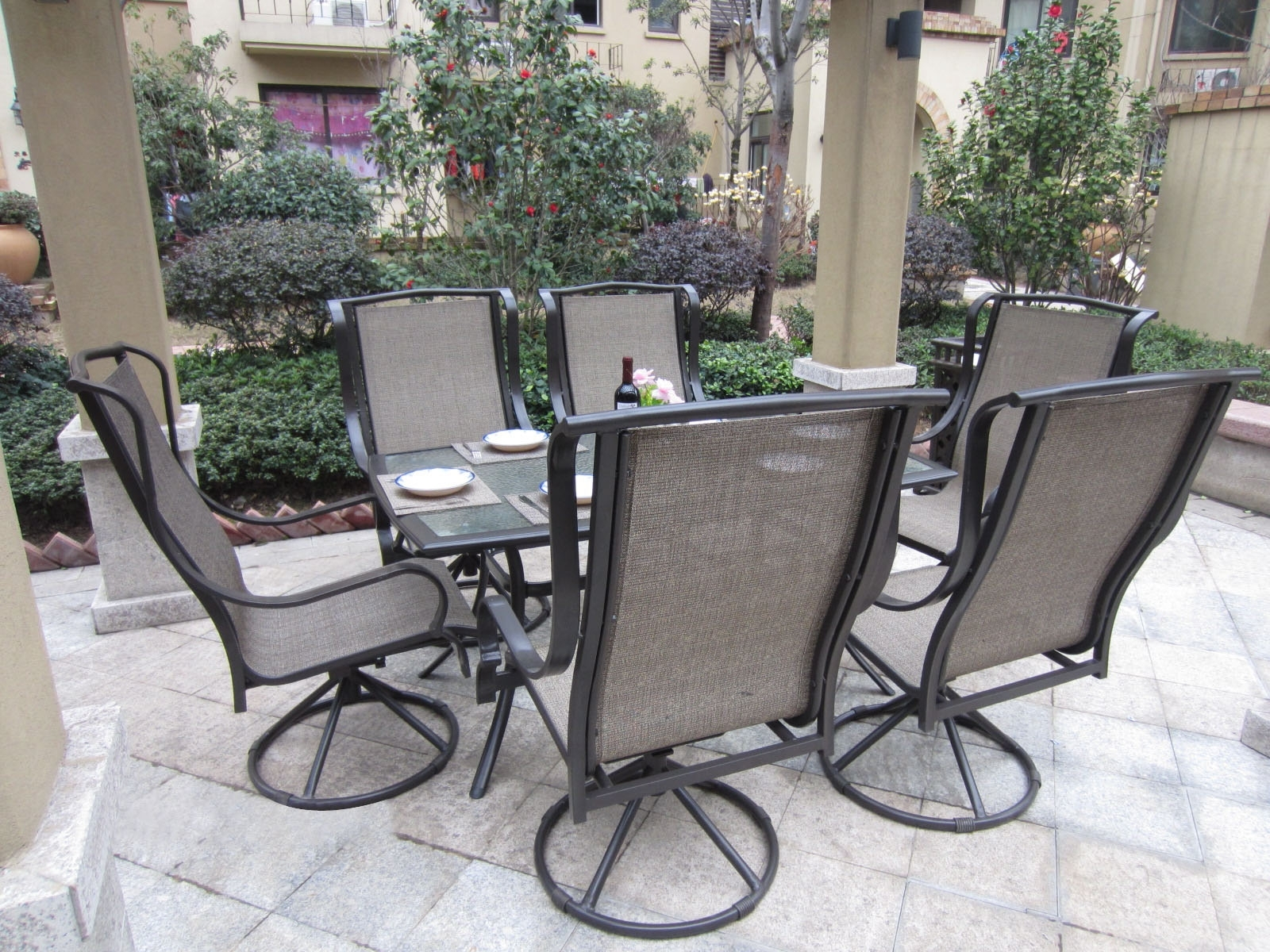 Current Patio Conversation Sets With Rockers Regarding Patio : Small Patio Furniture Beautiful Outdoor Patio Furniture Sets (View 2 of 15)