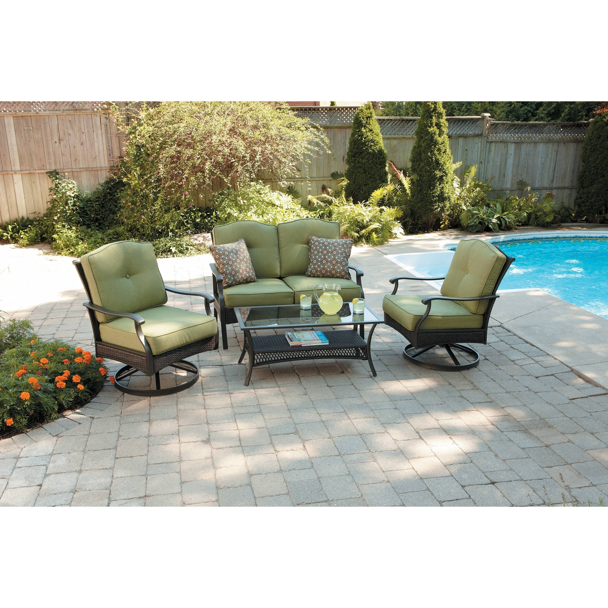 Current Patio Conversation Sets With Swivel Chairs For Better Homes And Gardens Providence 4 Piece Patio Conversation Set (View 5 of 15)