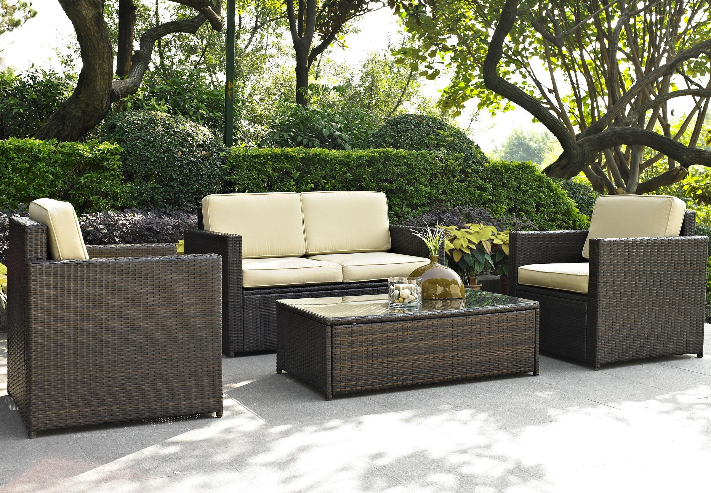 Current Resin Wicker Patio Conversation Sets Pertaining To Furniture: Lovely Brown Wicker Chair Outdoor Furniture Design (View 5 of 15)