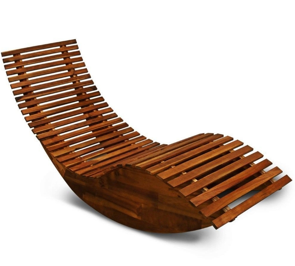 Current Rocking Chairs For Garden Inside Wooden Garden Sun Bed Patio Lounger Recliner Rocking Chair Outdoor (View 1 of 15)