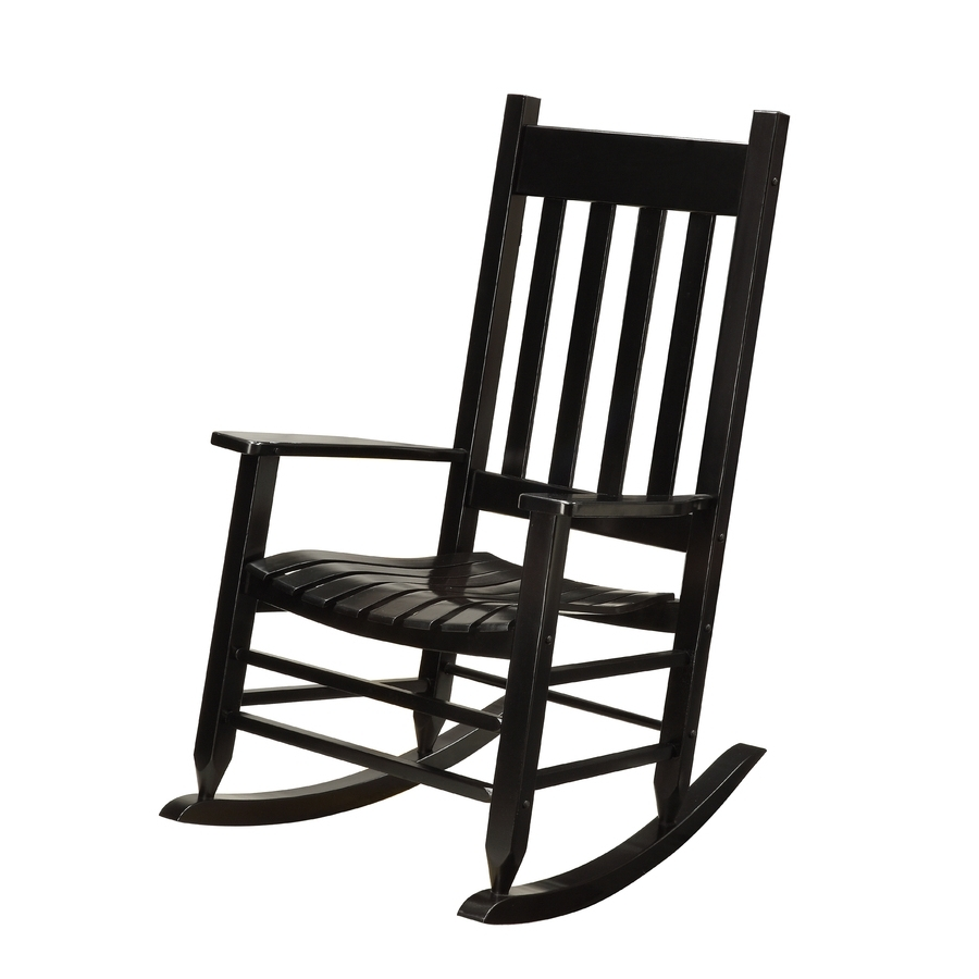 Current Shop Garden Treasures Black Wood Slat Seat Outdoor Rocking Chair At In Rocking Chairs At Lowes (View 11 of 15)