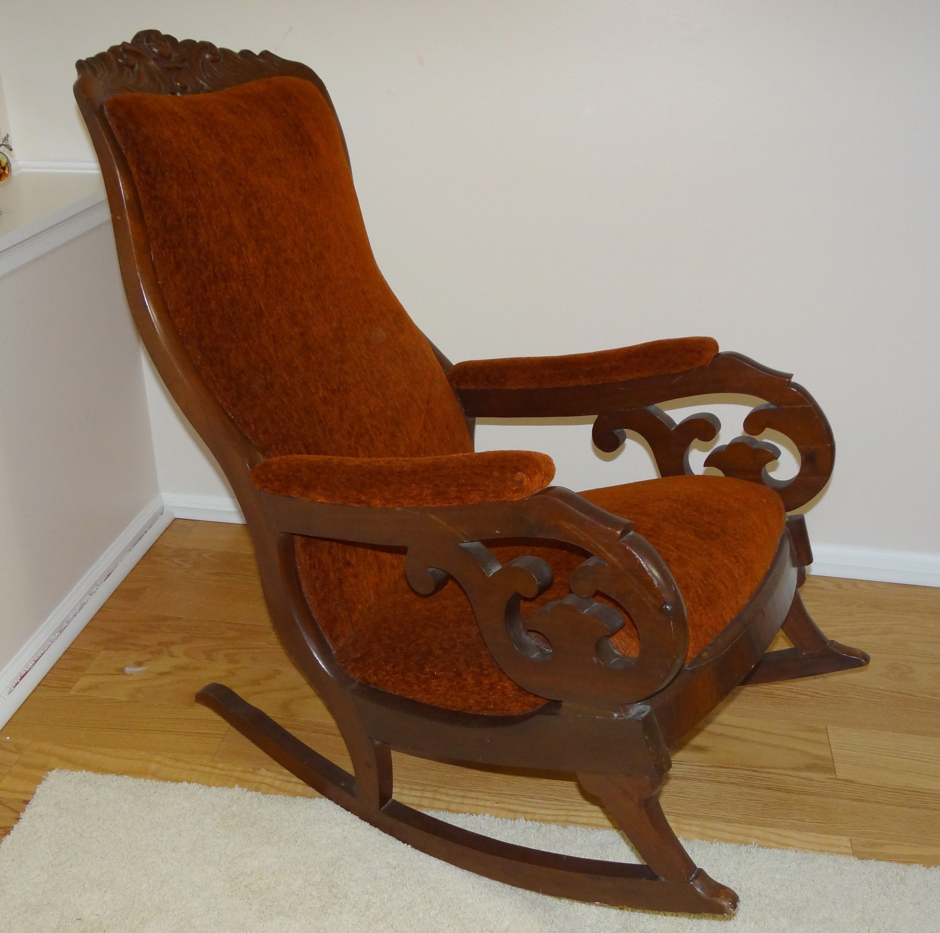 Current Victorian Rocking Chairs Inside Antique Victorian Mahogany Upholstered Rocking Chair (View 4 of 15)