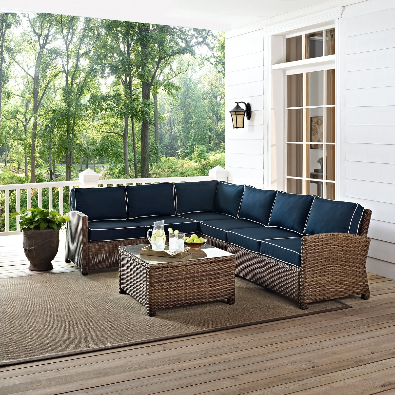 Current Wicker 4Pc Patio Conversation Sets With Navy Cushions Throughout Crosley Bradenton 5 Piece Outdoor Wicker Sectional Conversation Set (View 9 of 15)