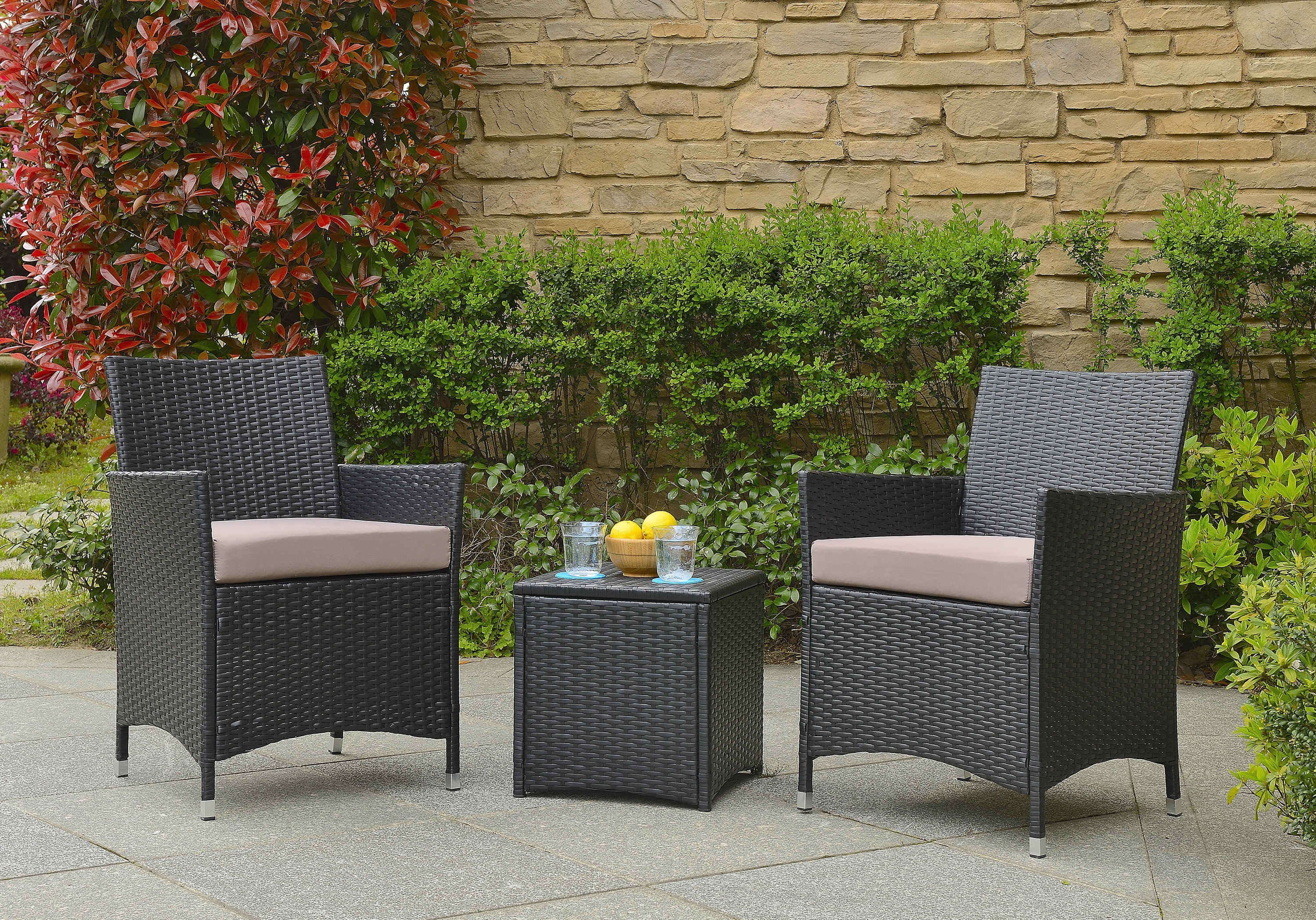Current Wrought Studio Minden 3 Piece Conversation Set With Cushions Within 3 Piece Patio Conversation Sets (View 9 of 15)