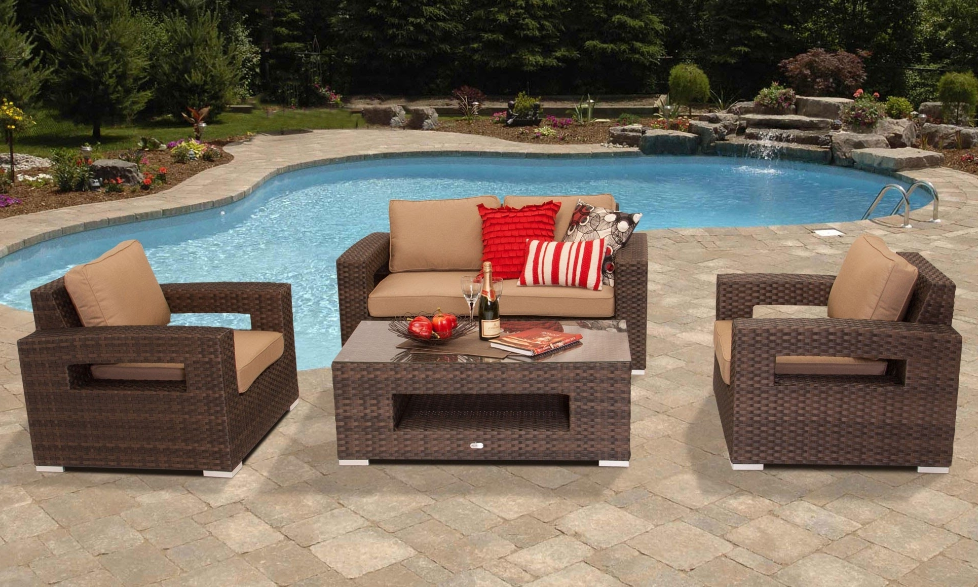 Cushions 5 Random 2 Sunbrella Patio Furniture Cushions For Well Known Sunbrella Patio Conversation Sets (View 5 of 15)