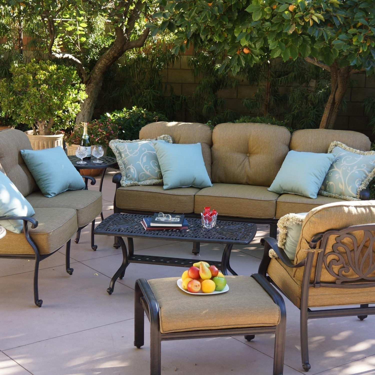 Darlee Elisabeth 8 Piece Cast Aluminum Patio Conversation Seating Pertaining To Preferred Cast Aluminum Patio Conversation Sets (View 6 of 15)