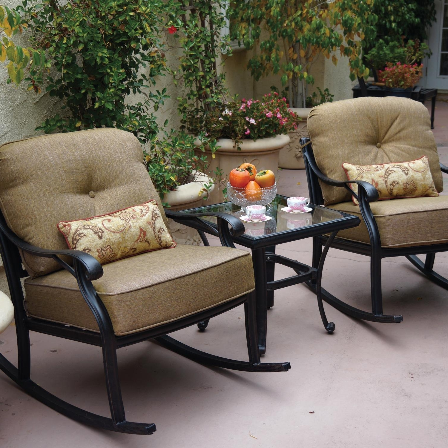 Darlee Nassau 3 Piece Cast Aluminum Patio Conversation Seating Set Within Most Current Patio Conversation Sets With Dining Table (View 3 of 15)