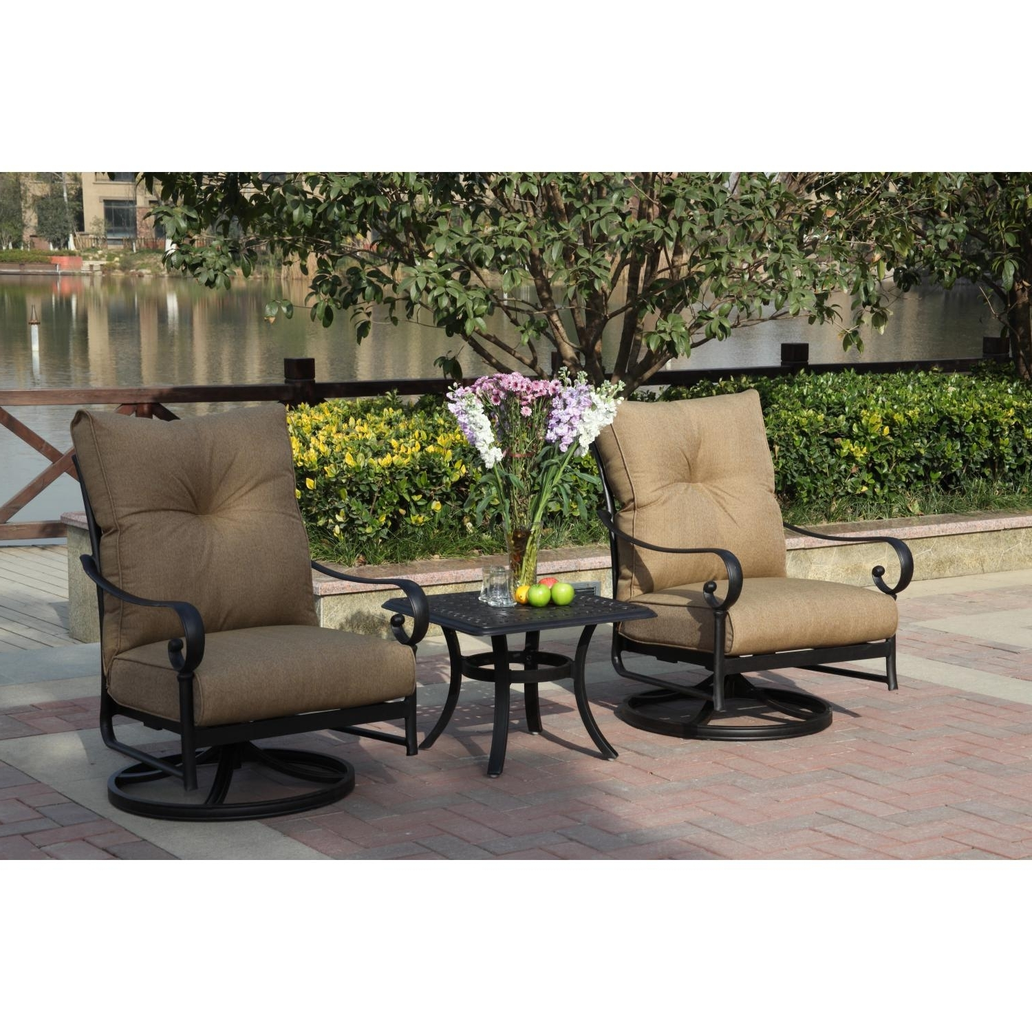 Darlee Santa Anita 3 Piece Cast Aluminum Patio Conversation Seating Set  With Swivel Rockers Pertaining To Recent Patio Conversation Sets With Rockers (View 3 of 15)