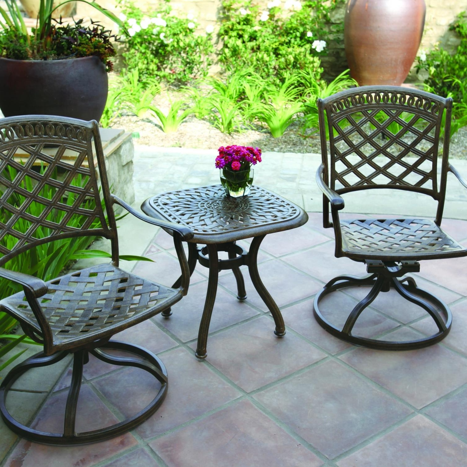 Darlee Sedona 3 Piece Cast Aluminum Patio Bistro Set With Swivel Rockers –  Antique Bronze Pertaining To Recent Patio Conversation Sets With Rockers (View 4 of 15)