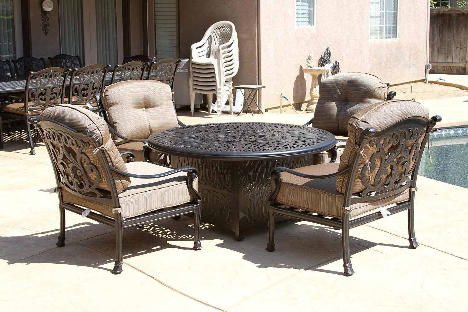 """Deep Seating Patio Conversation Sets Inside Widely Used Flamingo 5Pc Deep Seating Set – 4 Club Chairs And 52"""" Round Fire Pit (View 13 of 15)"""